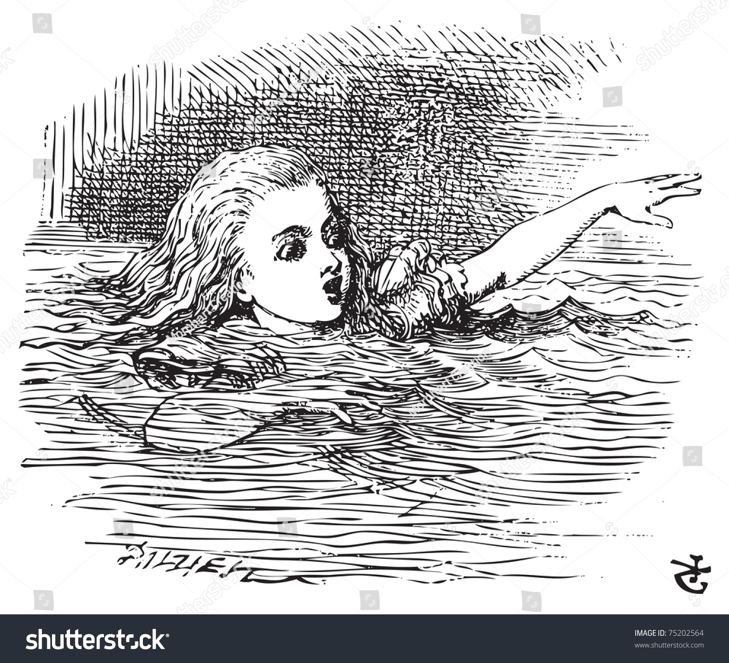 Alice In Wonderland Water: Alice Wonderland Alice Swimming Her Pool Stock Vector