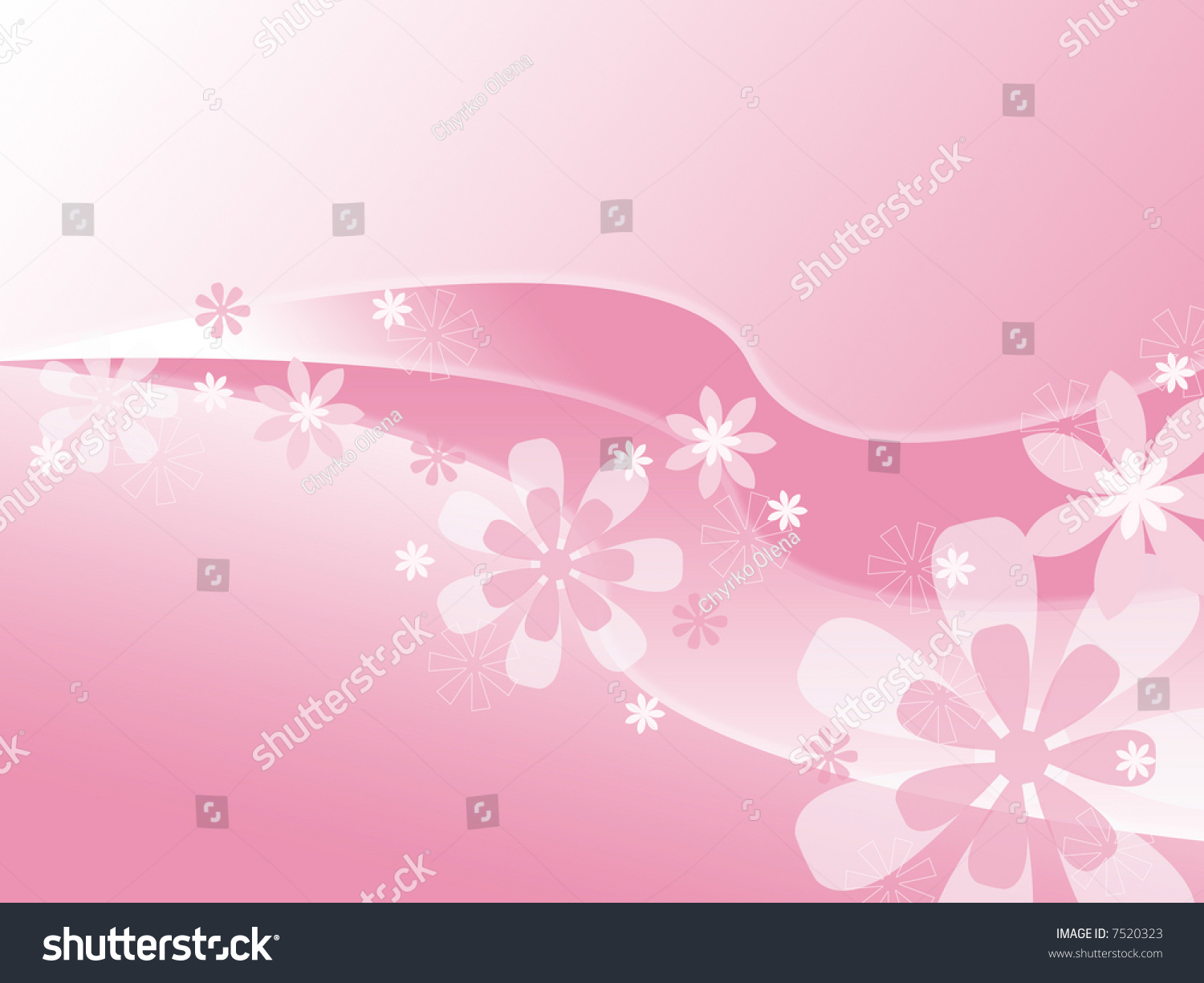 Background Pink Color Flowers Wavy Line Stock Illustration Royalty