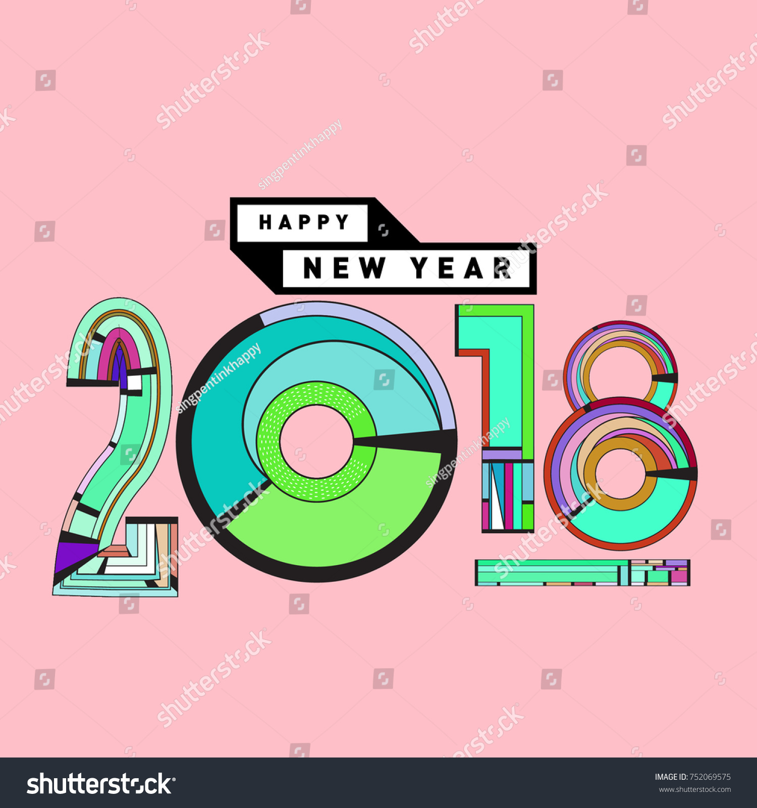 happy new year 2018 greeting card and calendar cover template