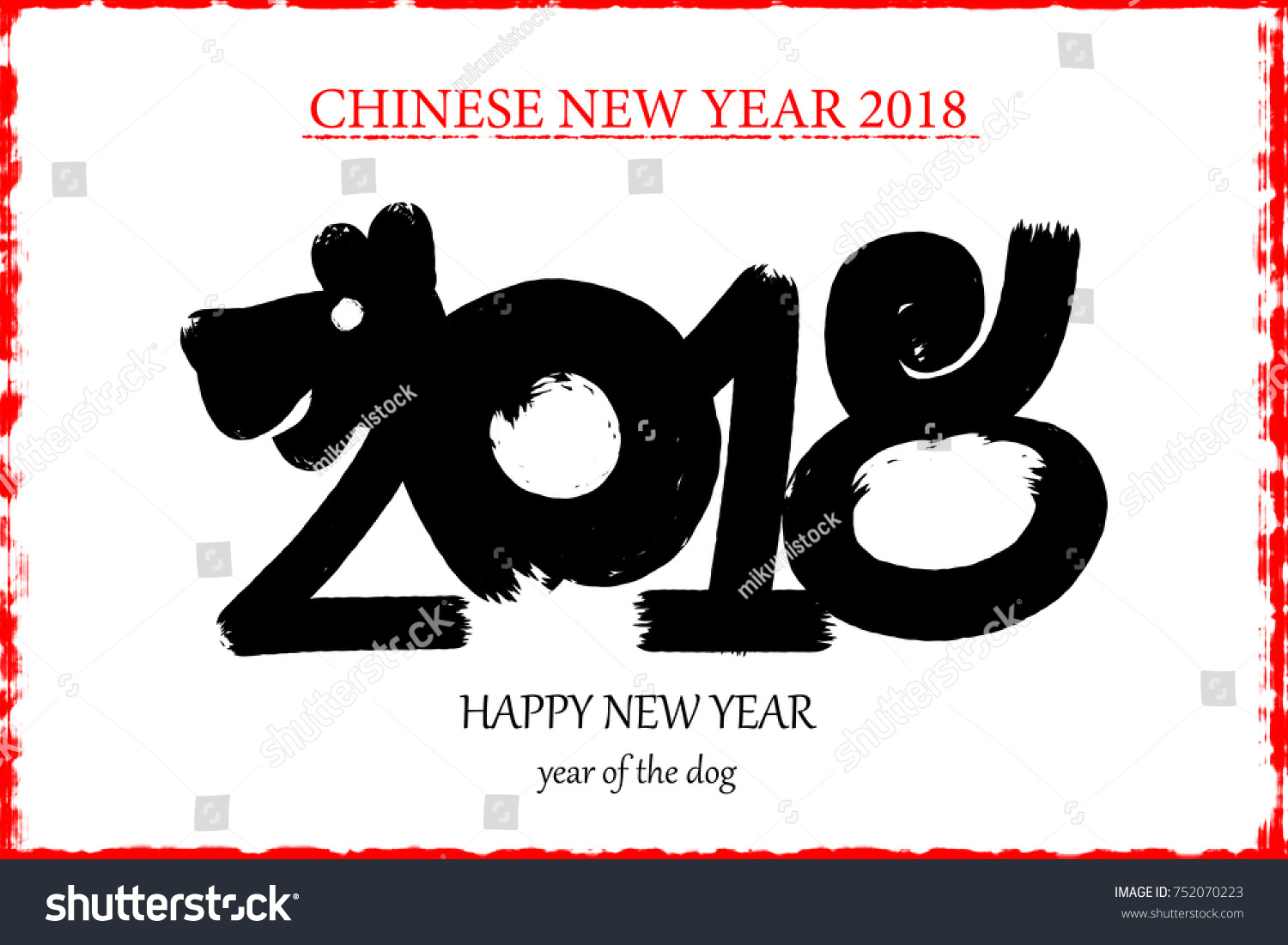 2018 happy new year number dog shape drawing style for add text above