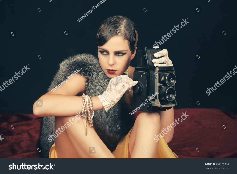 Woman Retro Hair Makeup Old Camera Stock Photo Edit Now 752106880