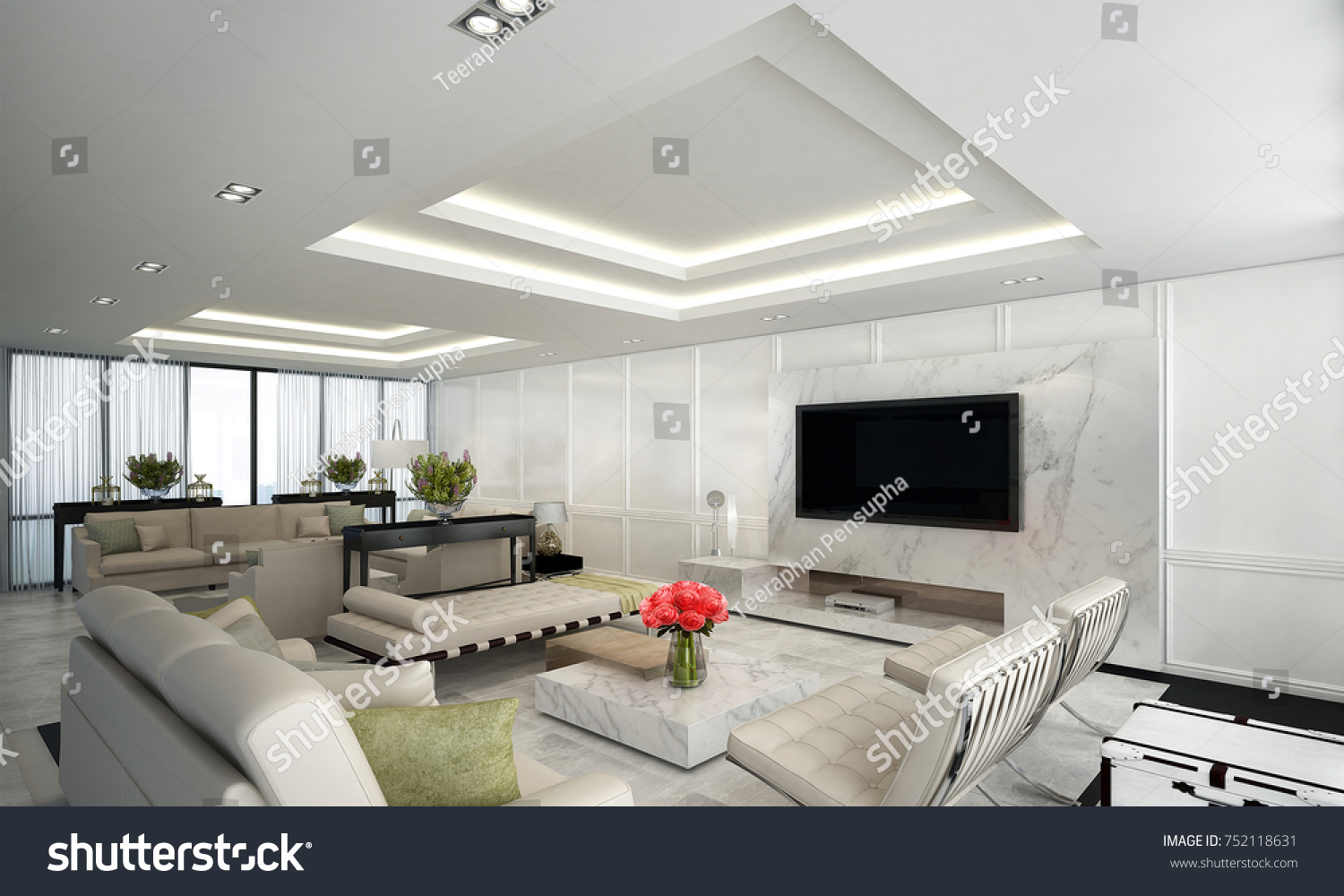 Luxury Living Room Interiors Design White Stock Illustration ...