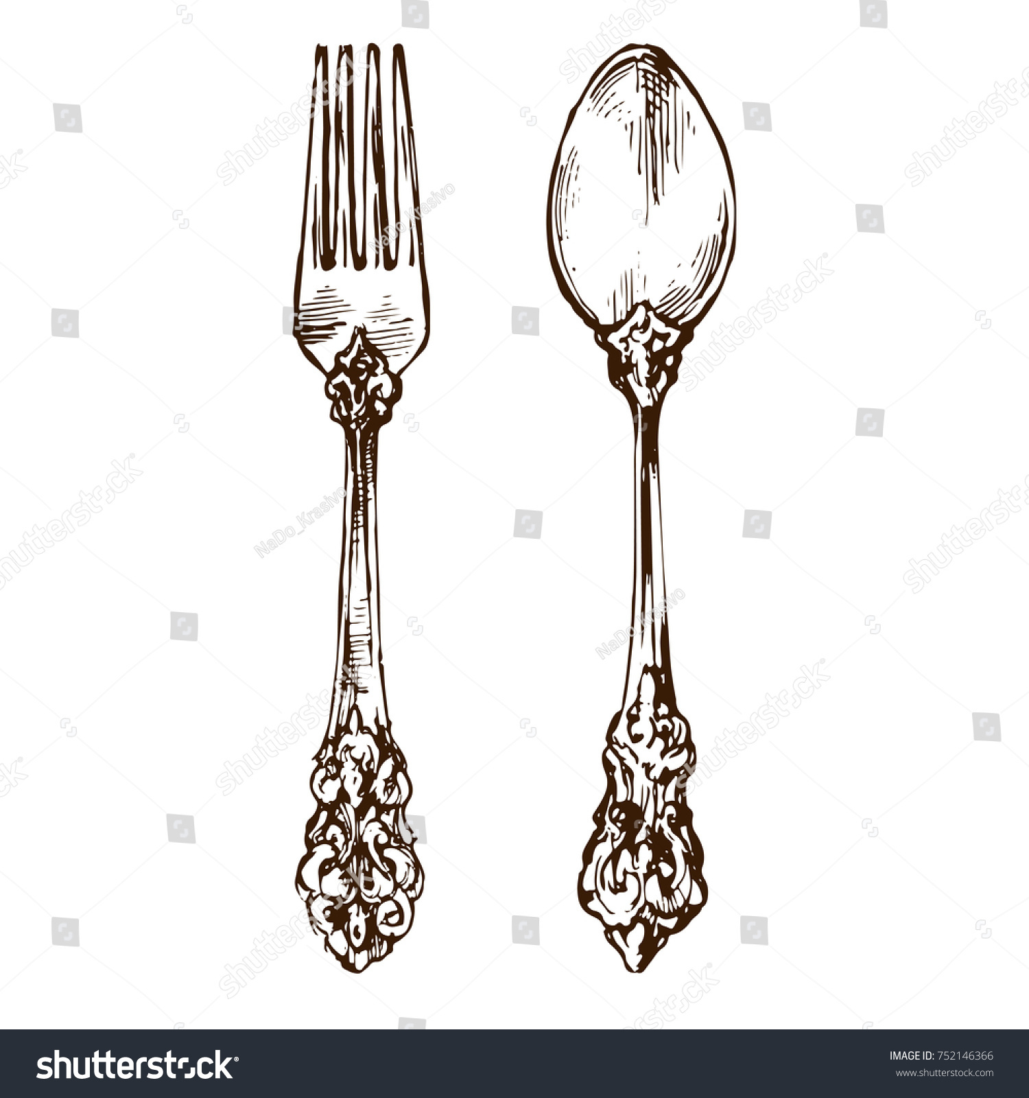Vintage Silver Knives Forks Spoons Used Stock Photo (Photo, Vector ...