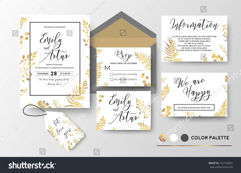 Wedding Invite Invitation Thank You Rsvp Stock Vector HD (Royalty ...