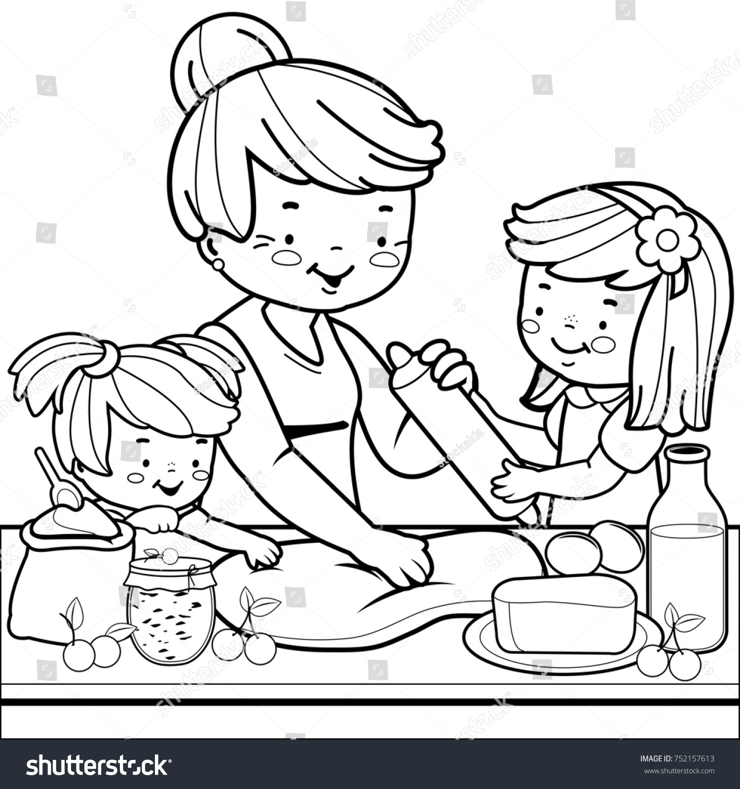 Grandmother Children Cooking Kitchen Coloring Book Stock ...