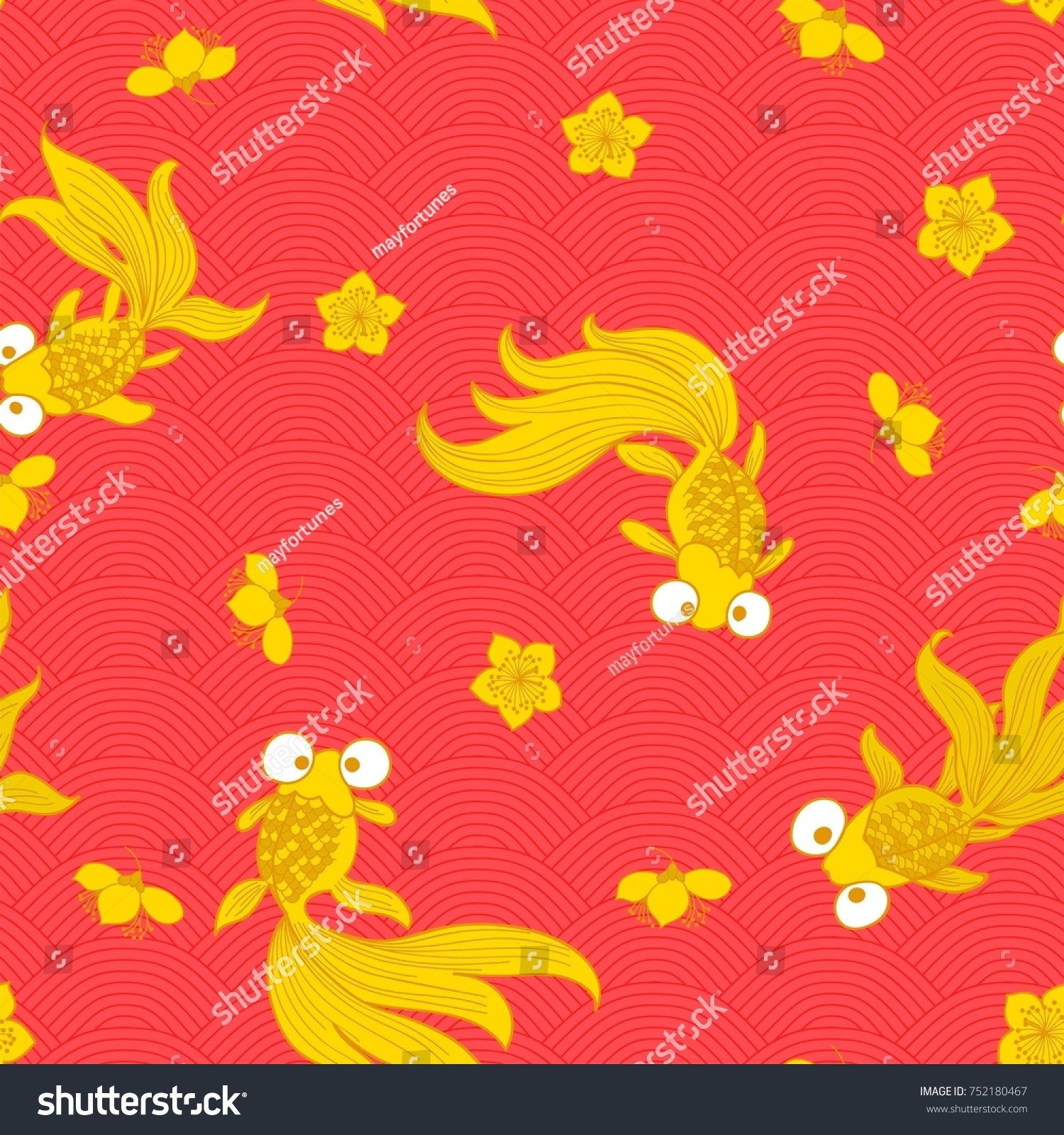 Goldfish popular symbols chinese art their stock vector 752180467 goldfish are popular symbols in chinese art as their name is a homophone for the two buycottarizona Images