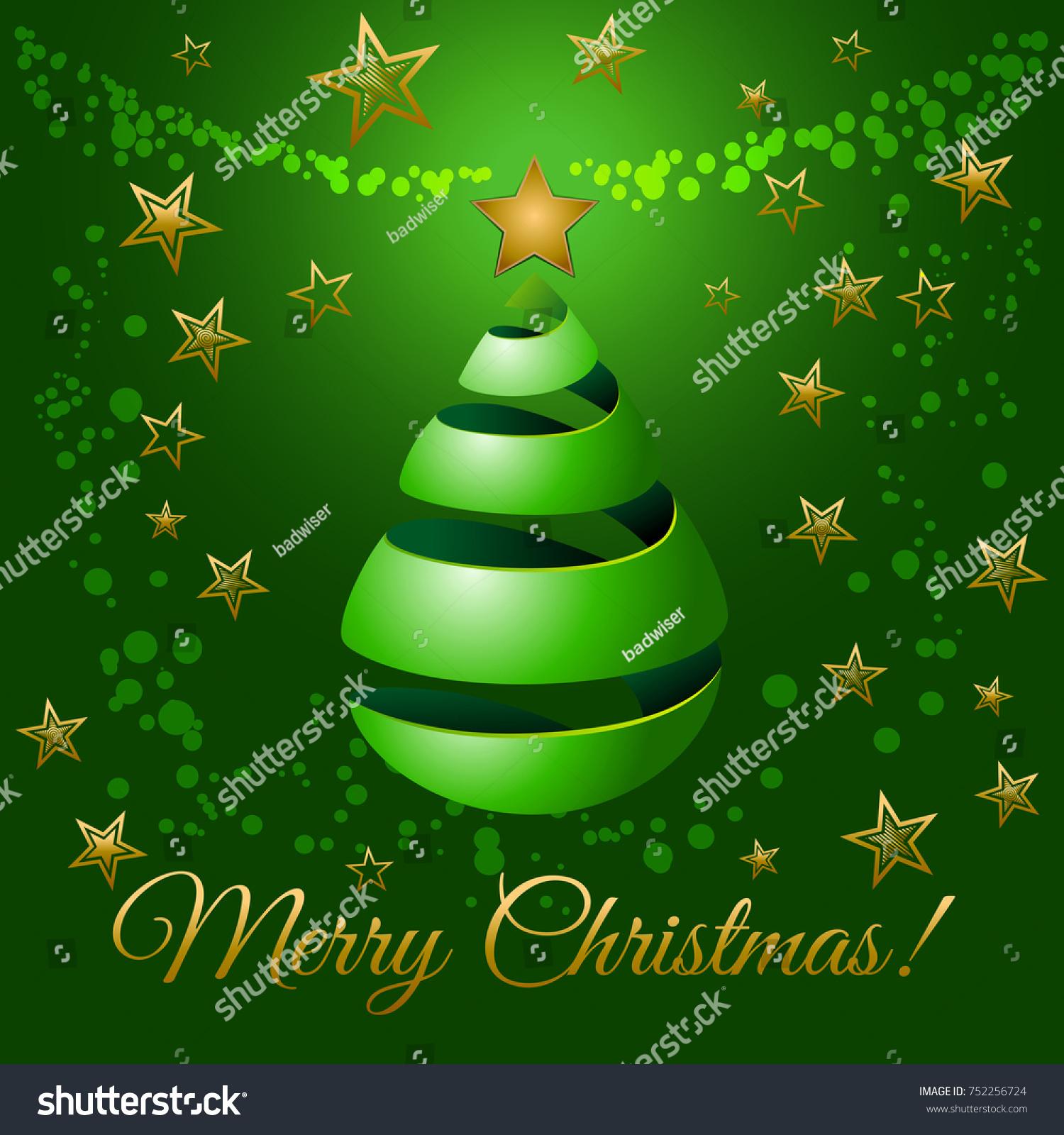 Christmas Green Ribbon Tree 3 D Abstract Stock Illustration