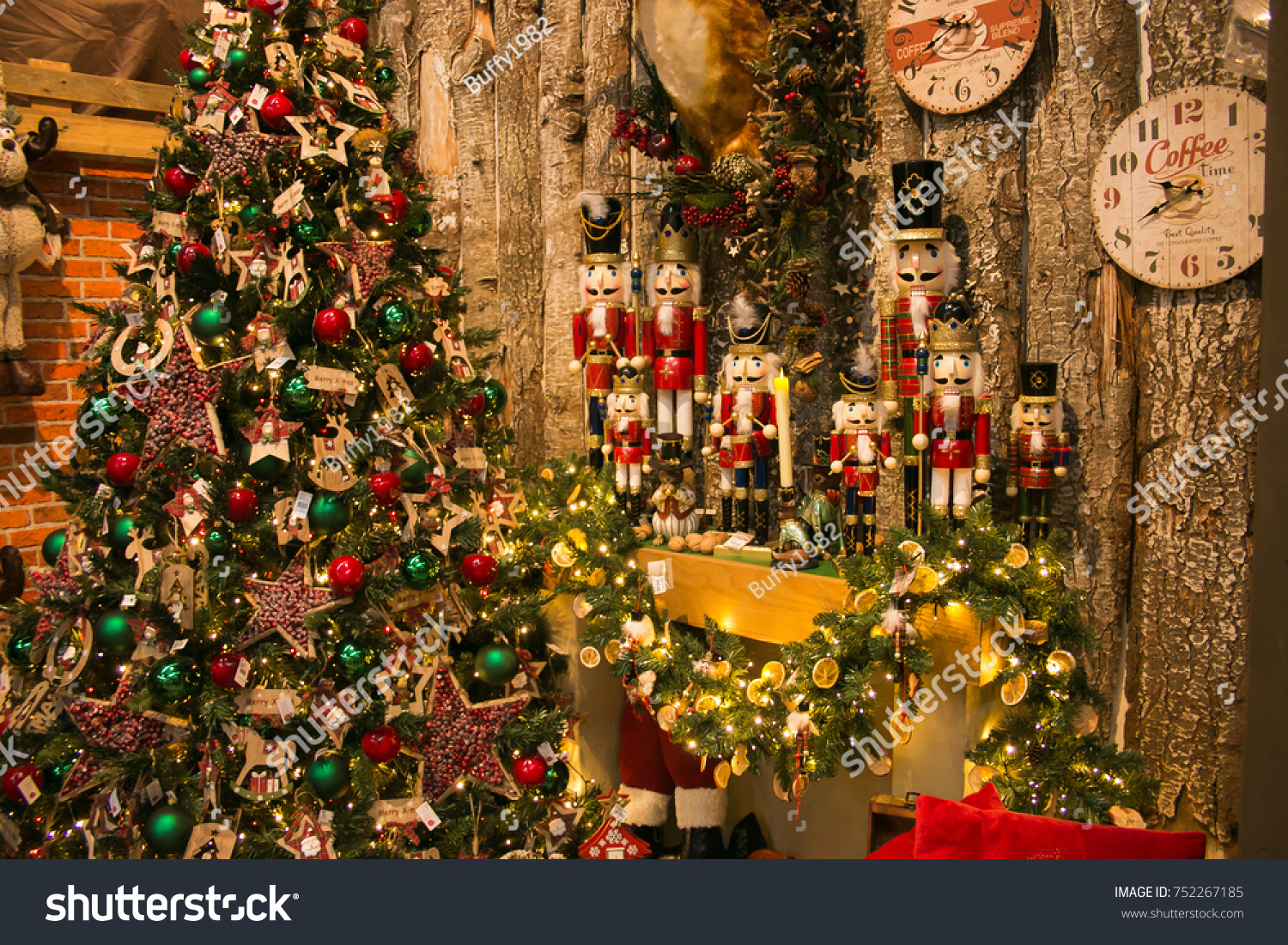 arezzo italy november 10 2017 christmas tree and fireplace with decorations at