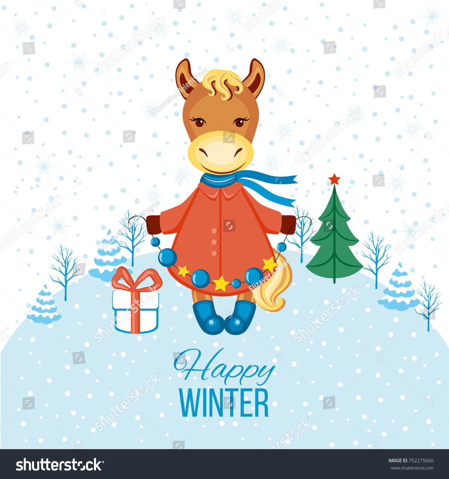 Merry Christmas Card Happy Horse Coat Stock Vector Royalty Free