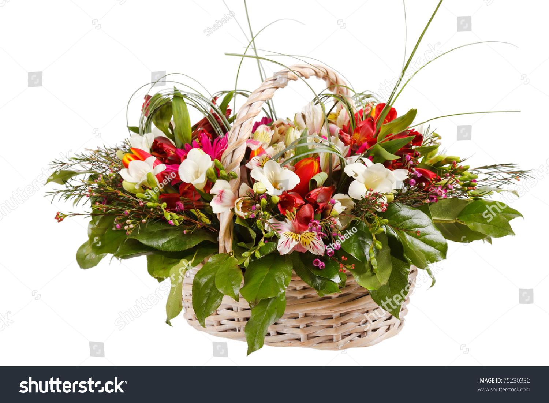 Beautiful flowers basket stock photo royalty free 75230332 beautiful flowers in the basket izmirmasajfo