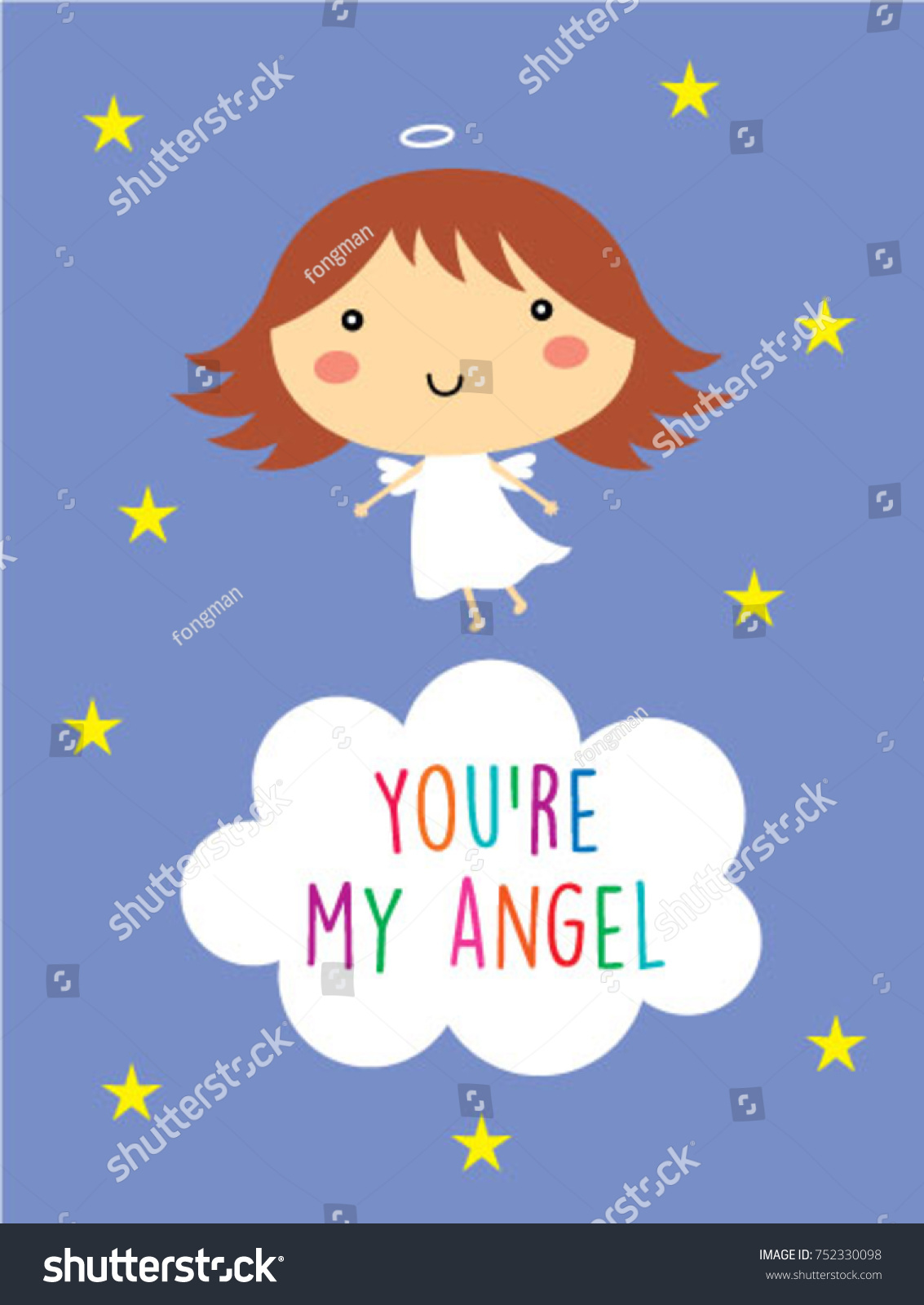 Cute You My Angel Greeting Card Stock Vector (Royalty Free