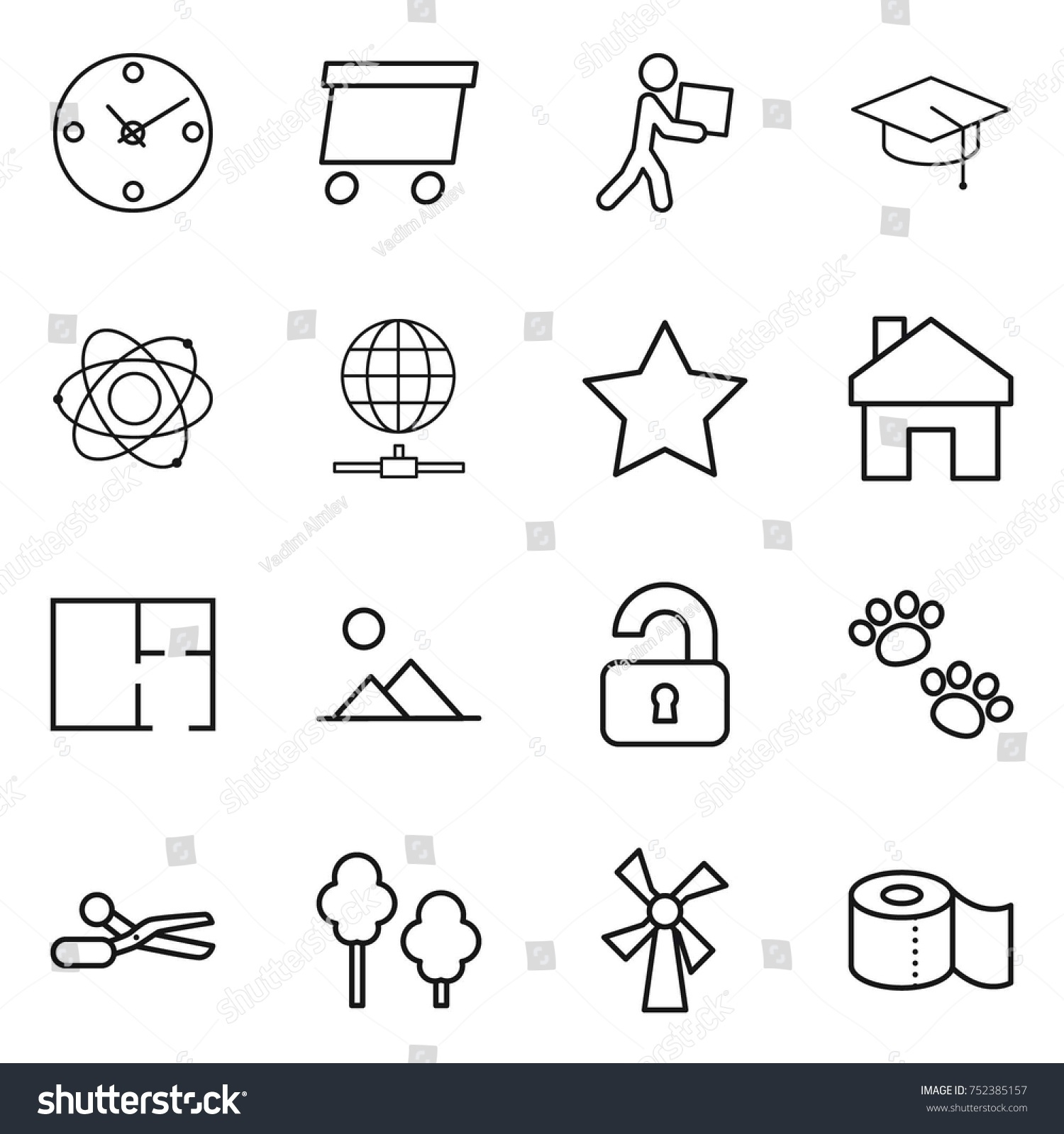 Thin Line Icon Set Clock Delivery Stock Vector