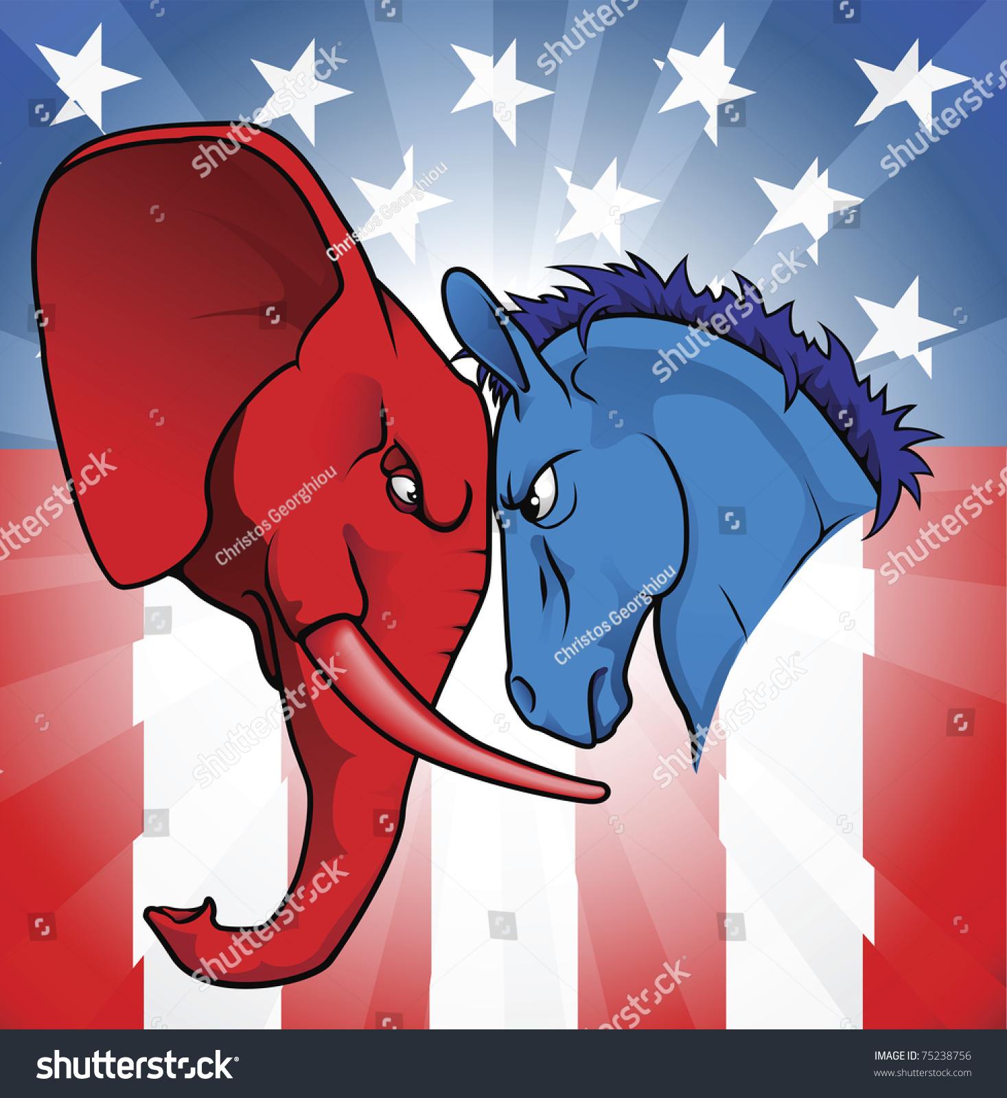 Democrat republican symbols donkey elephant facing stock vector the democrat and republican symbols of a donkey and elephant facing off biocorpaavc Images