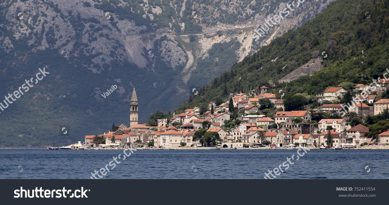 view city perast bay kotor adriatic stock photo royalty free