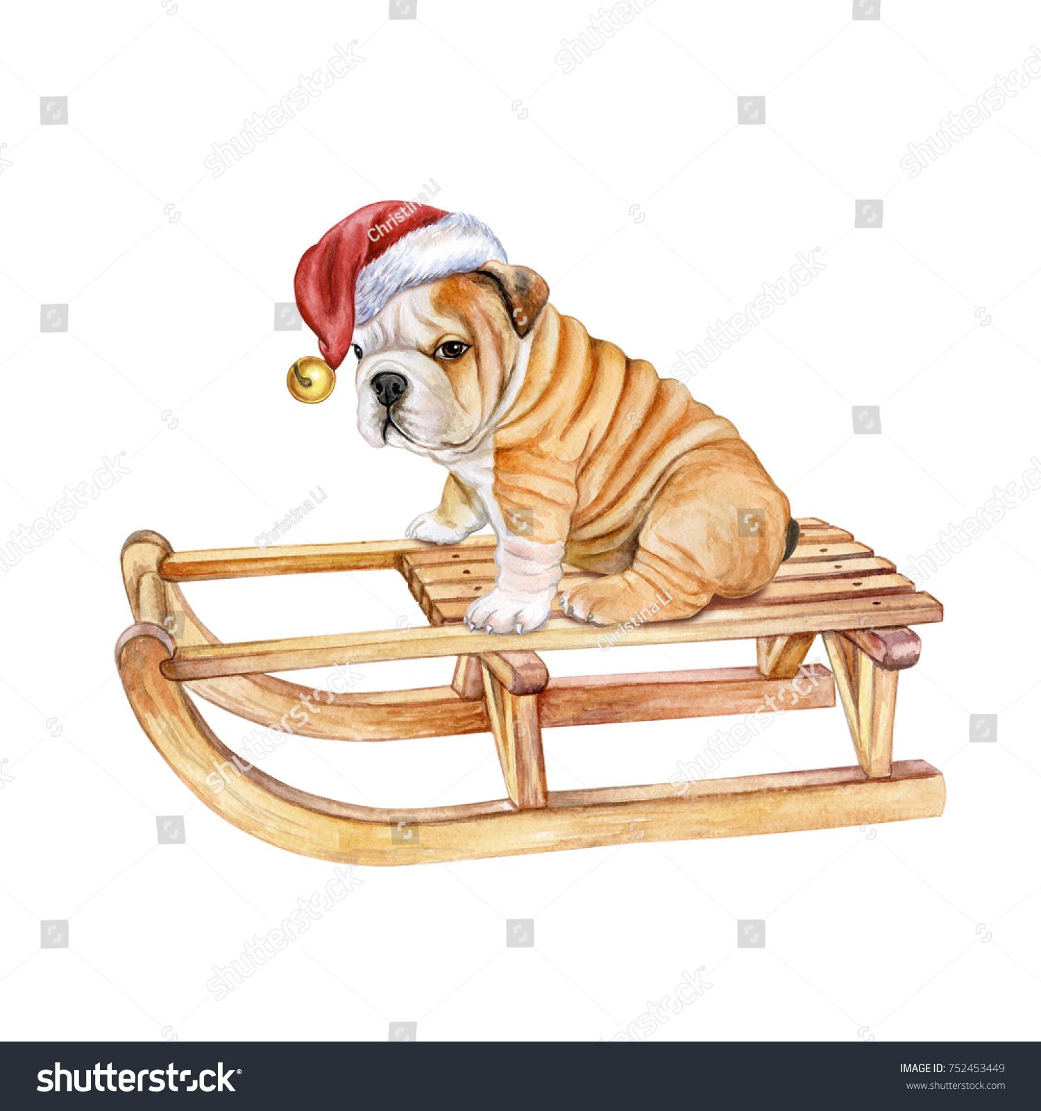 Puppy On Sleigh Dog English Bulldog Stock Illustration 752453449 ...