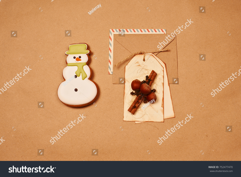 Christmas Gingerbread Snowman Envelope Kraft Paper Stock Photo Edit