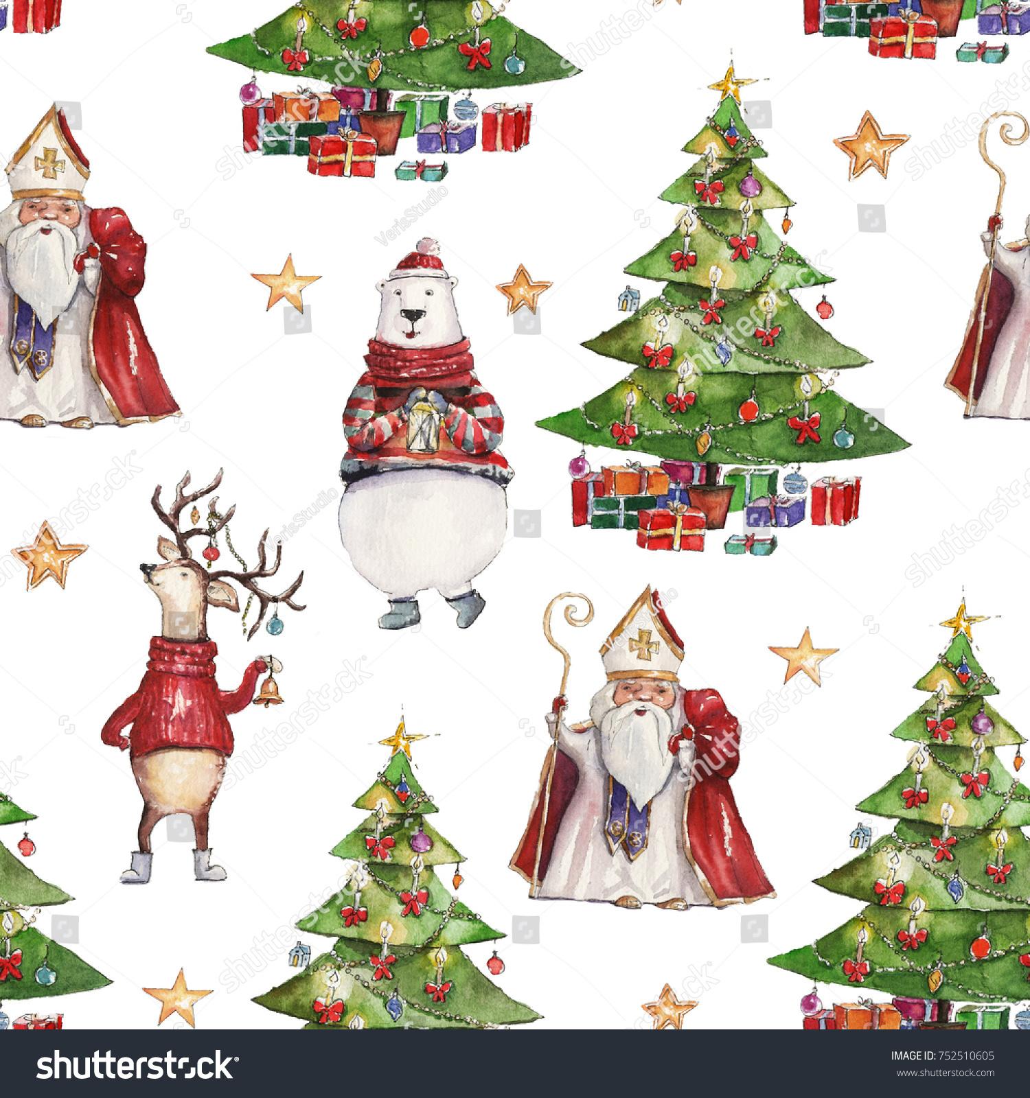 Watercolor Hand Drawn Christmas Seamless Pattern Stock Illustration