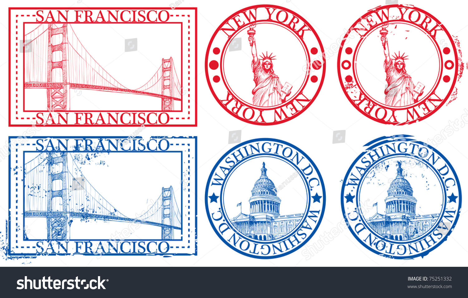 Usa famous cities stamps symbols new stock vector 75251332 for New york state architect stamp