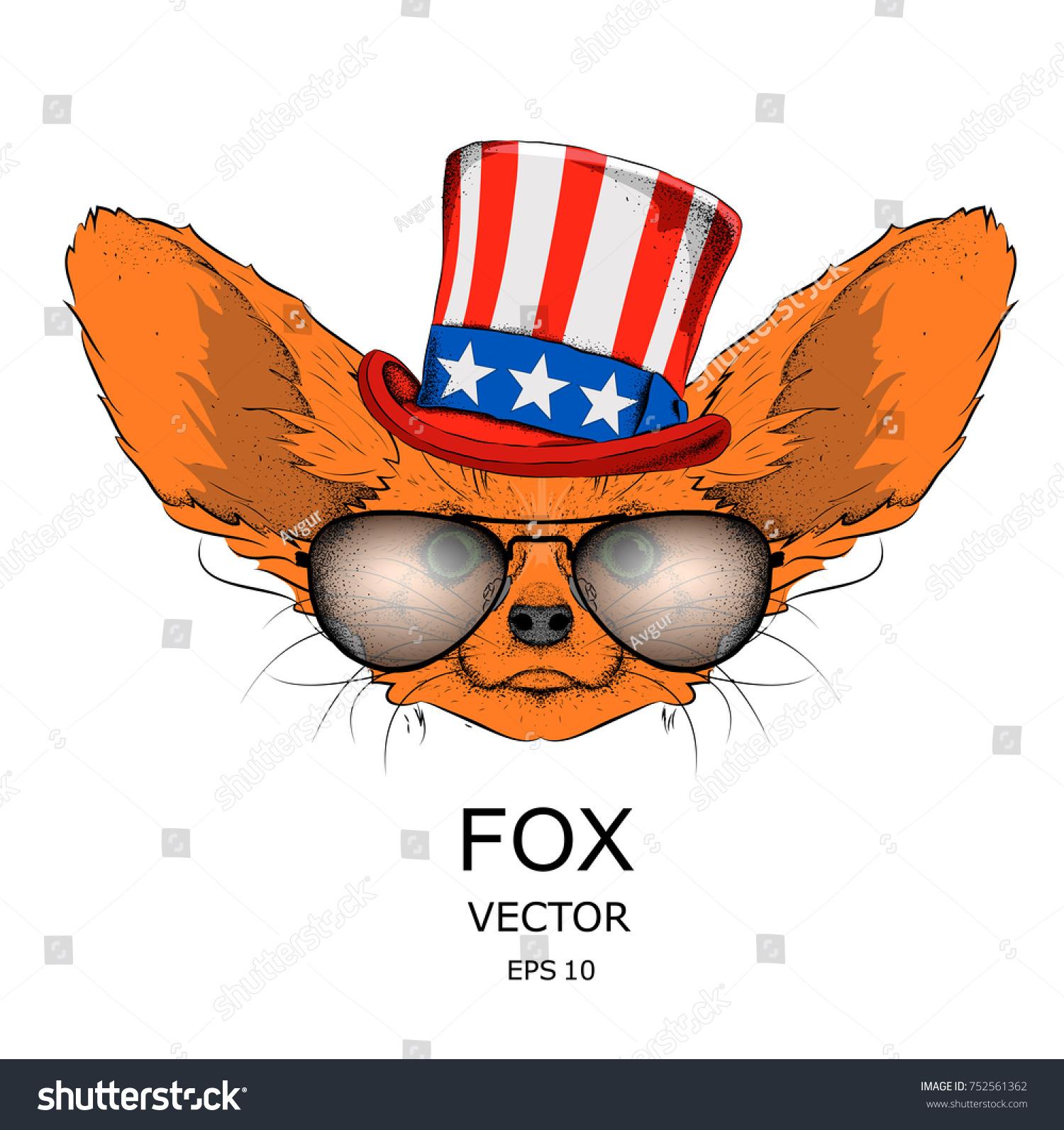 Fox Old American Hat Flag National Stock Vector 752561362 Shutterstock