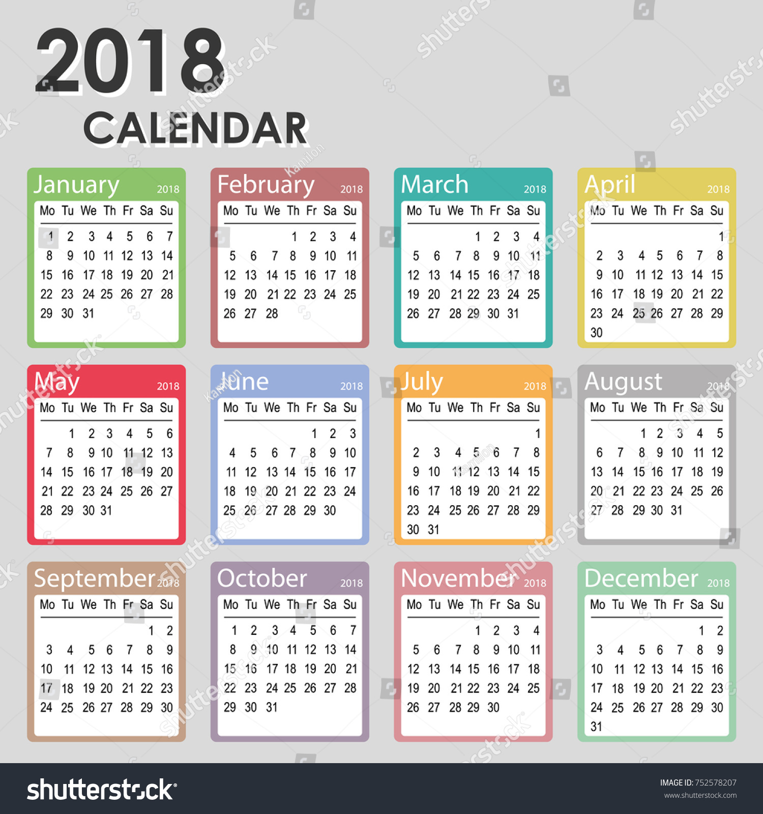 2018 Year Calendar Week Starts On Stock Vector Royalty Free