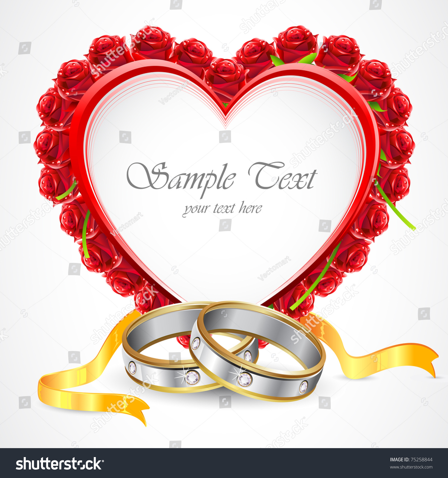 Illustration Pair Engagement Rings Rose Around Stock Vector