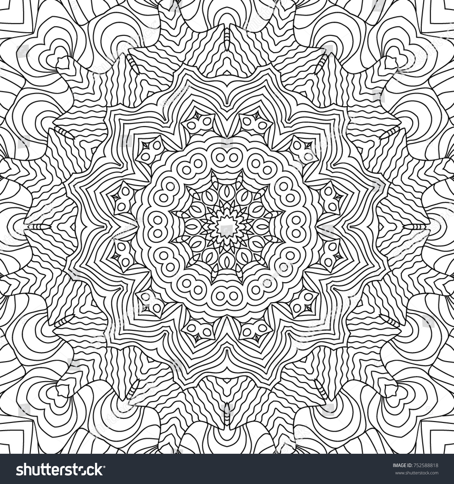 Coloring Page Adults Part Intricate Mandala Stock Vector 752588818 ...