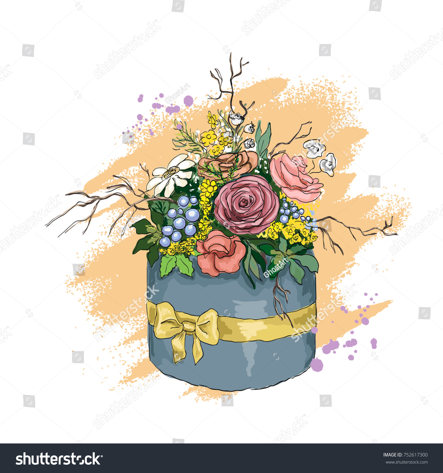 Beautiful hand drawn flowers box bouquet stock vector royalty free beautiful hand drawn flowers box a bouquet of flowers in a stylish box template izmirmasajfo