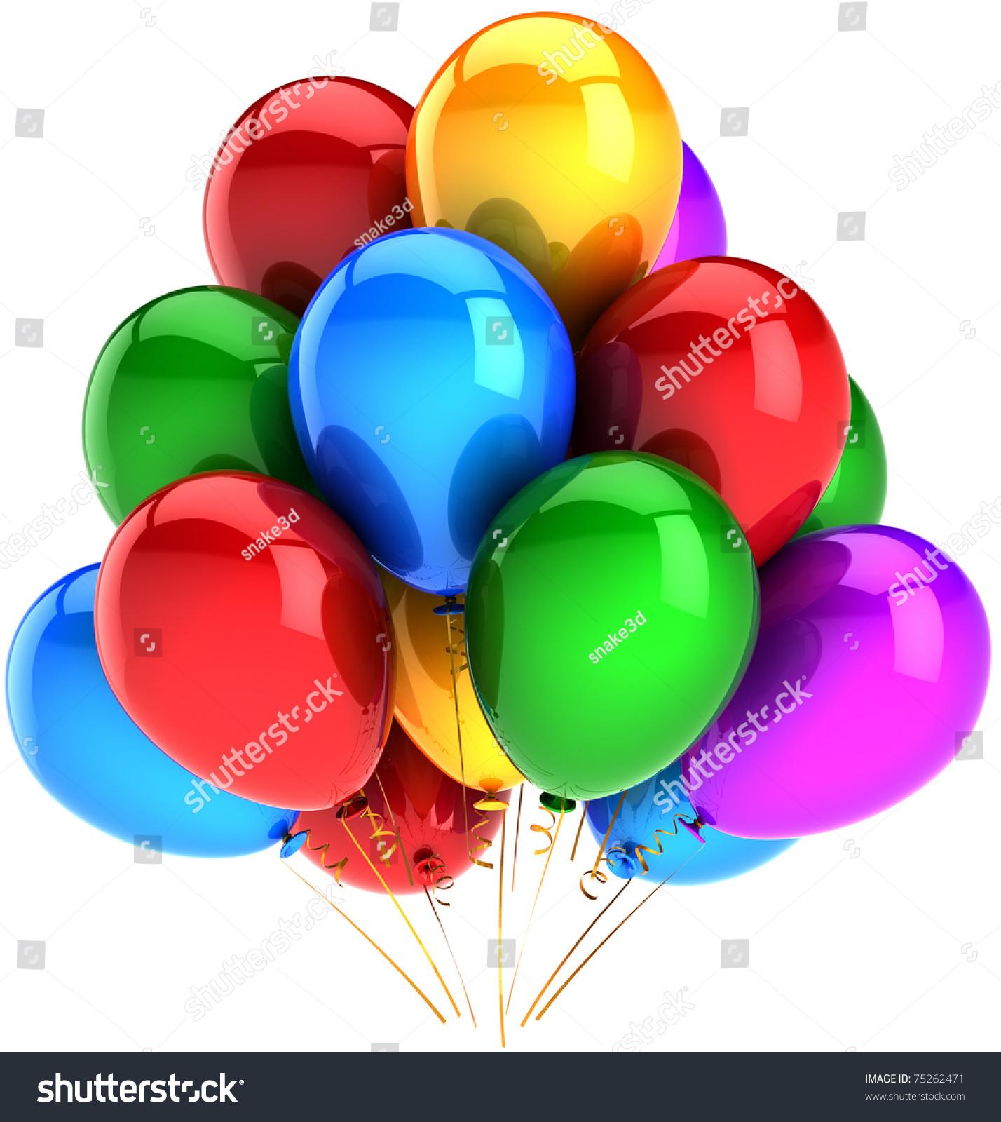 party balloons happy birthday balloon decoration stock illustration 75262471 shutterstock. Black Bedroom Furniture Sets. Home Design Ideas