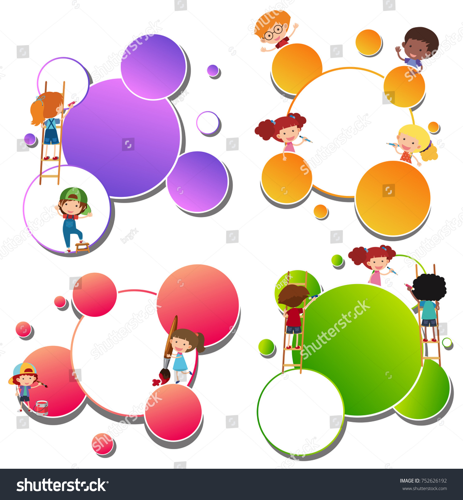 Border Templates Kids Painting Illustration Stock Vector (Royalty ...