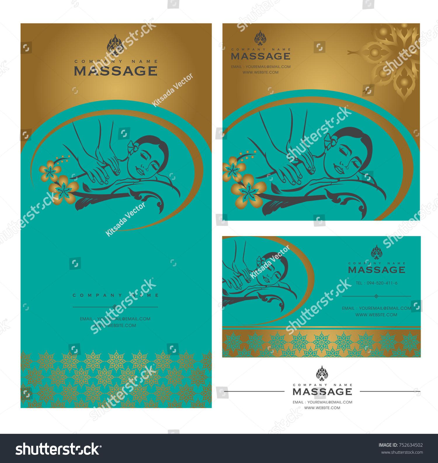 Set Vector Spa Massage Card Templates Stock Vector 752634502 ...