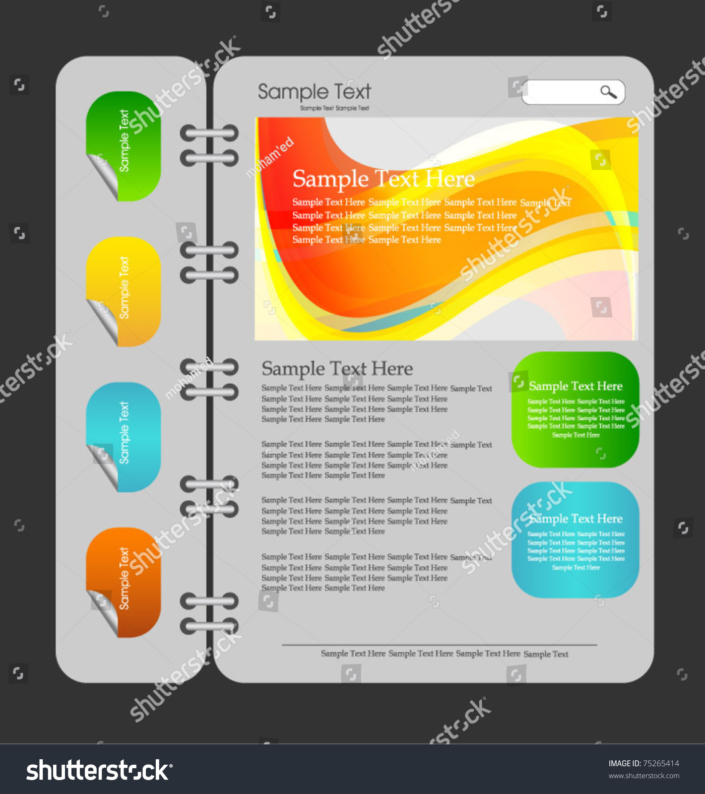 Notebook Web Design Template Stock Vector (Royalty Free) 75265414 ...