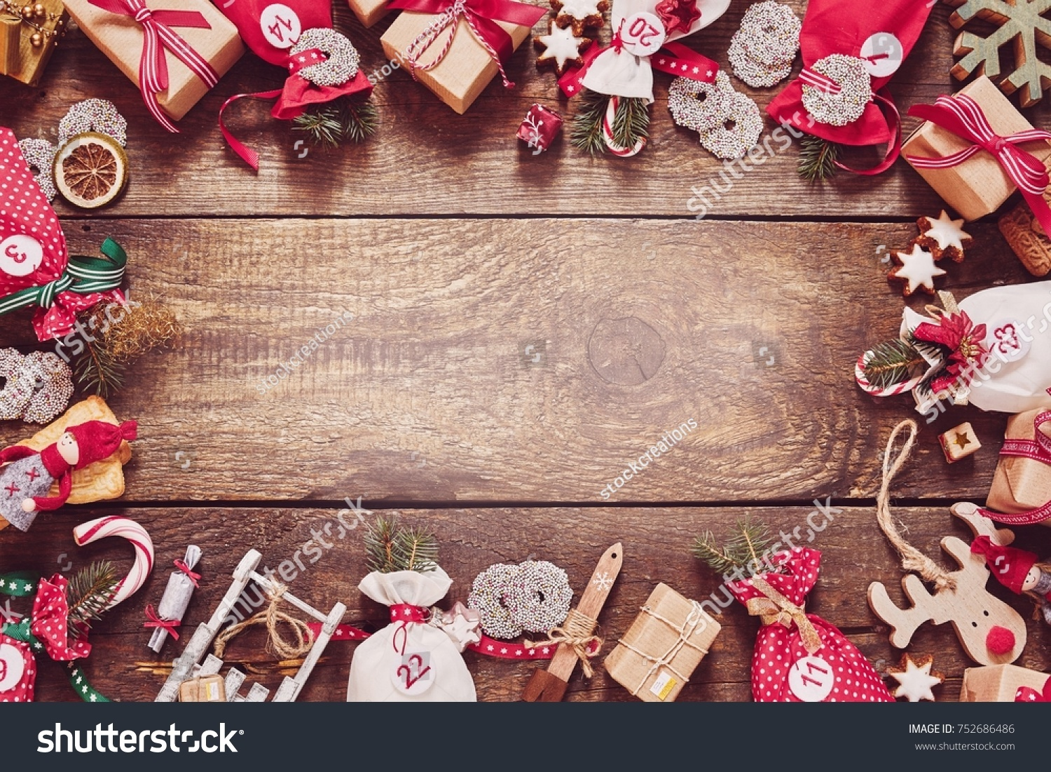 Christmas Frame Colorful Red Themed Gifts Stock Photo (Edit Now ...