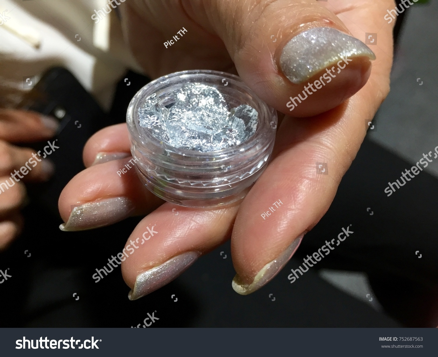 Nail Art Designs Silver Glittery Accent Stock Photo (Download Now ...