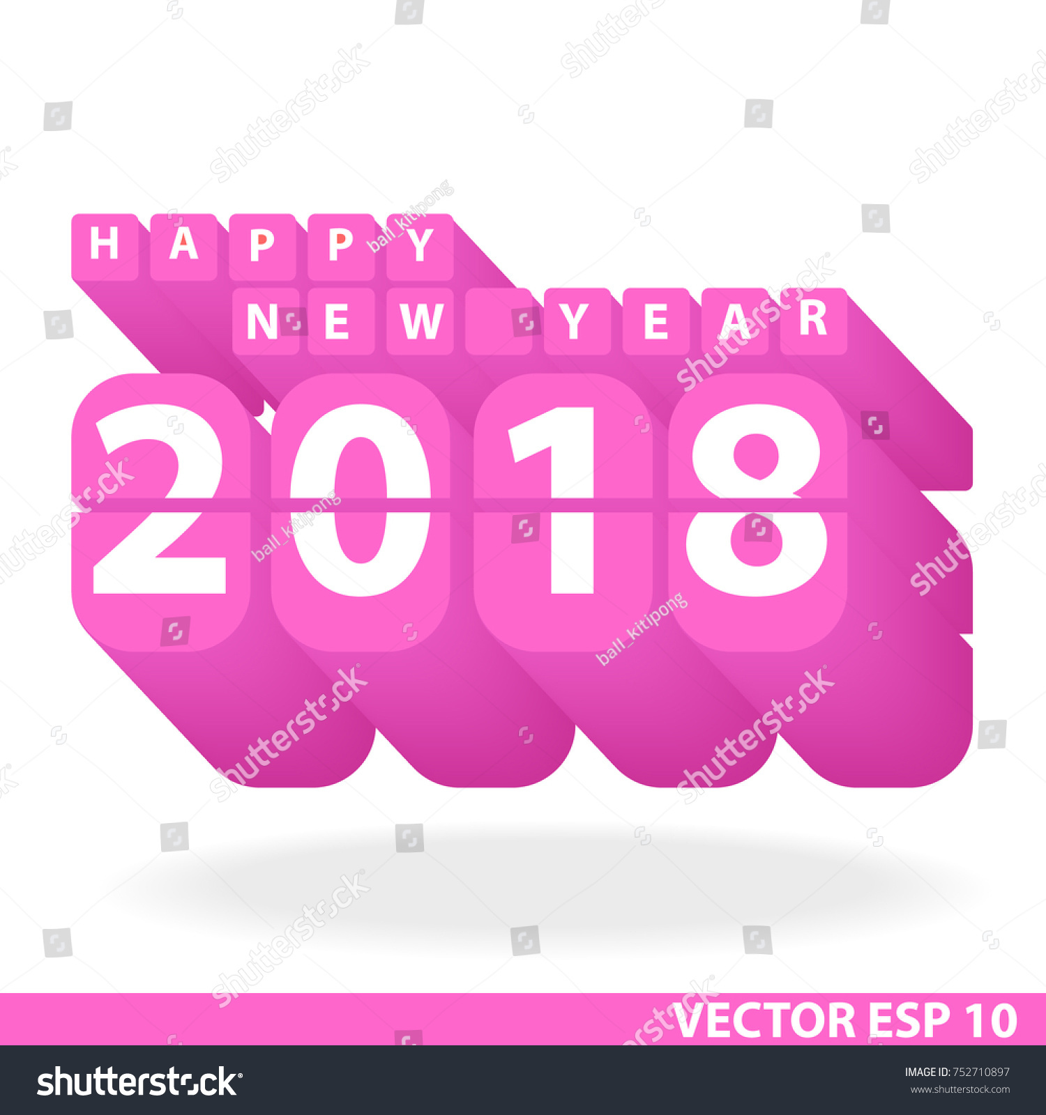 happy new year 2018 font design 3d pink