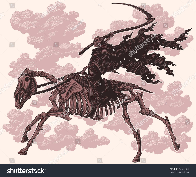 Death Scythe Rides On Horses Skeleton Stock Vector Royalty Free 752734036