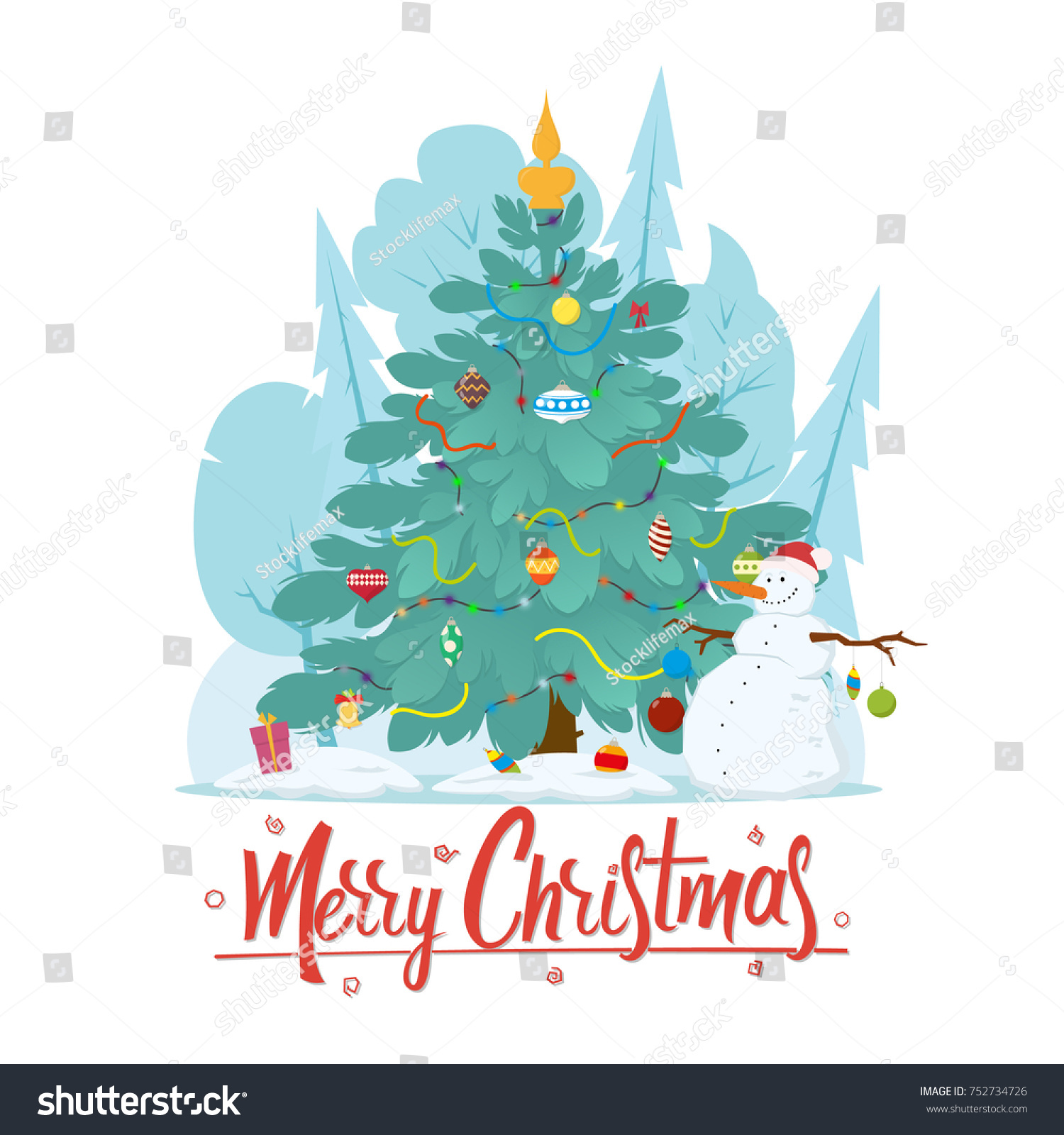 Christmas Christmas tree next to a snowman in a winter forest. vector illustration isolated on white background. #752734726