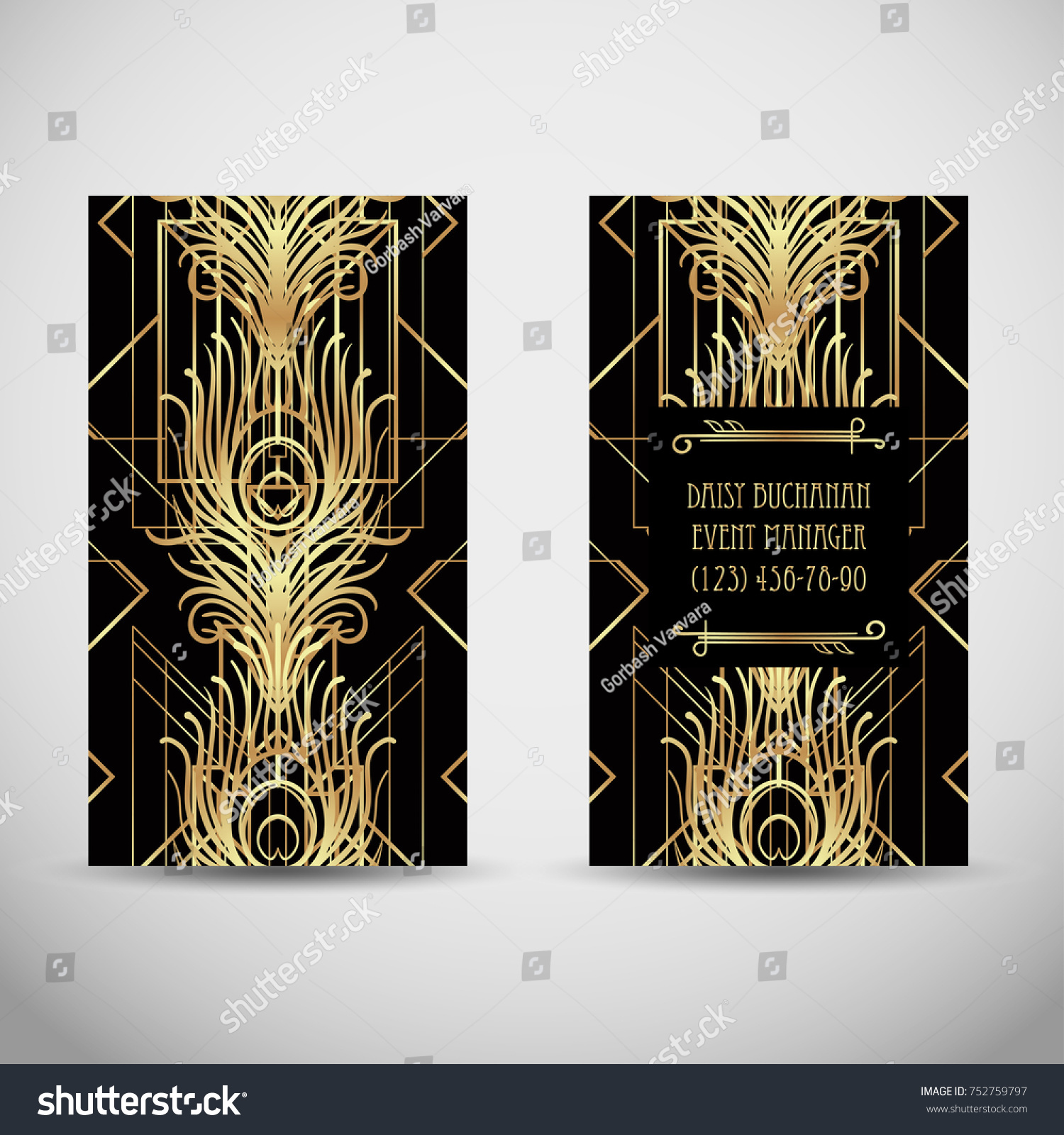Art Deco Style Business Card Sample Stock Vector 752759797 ...