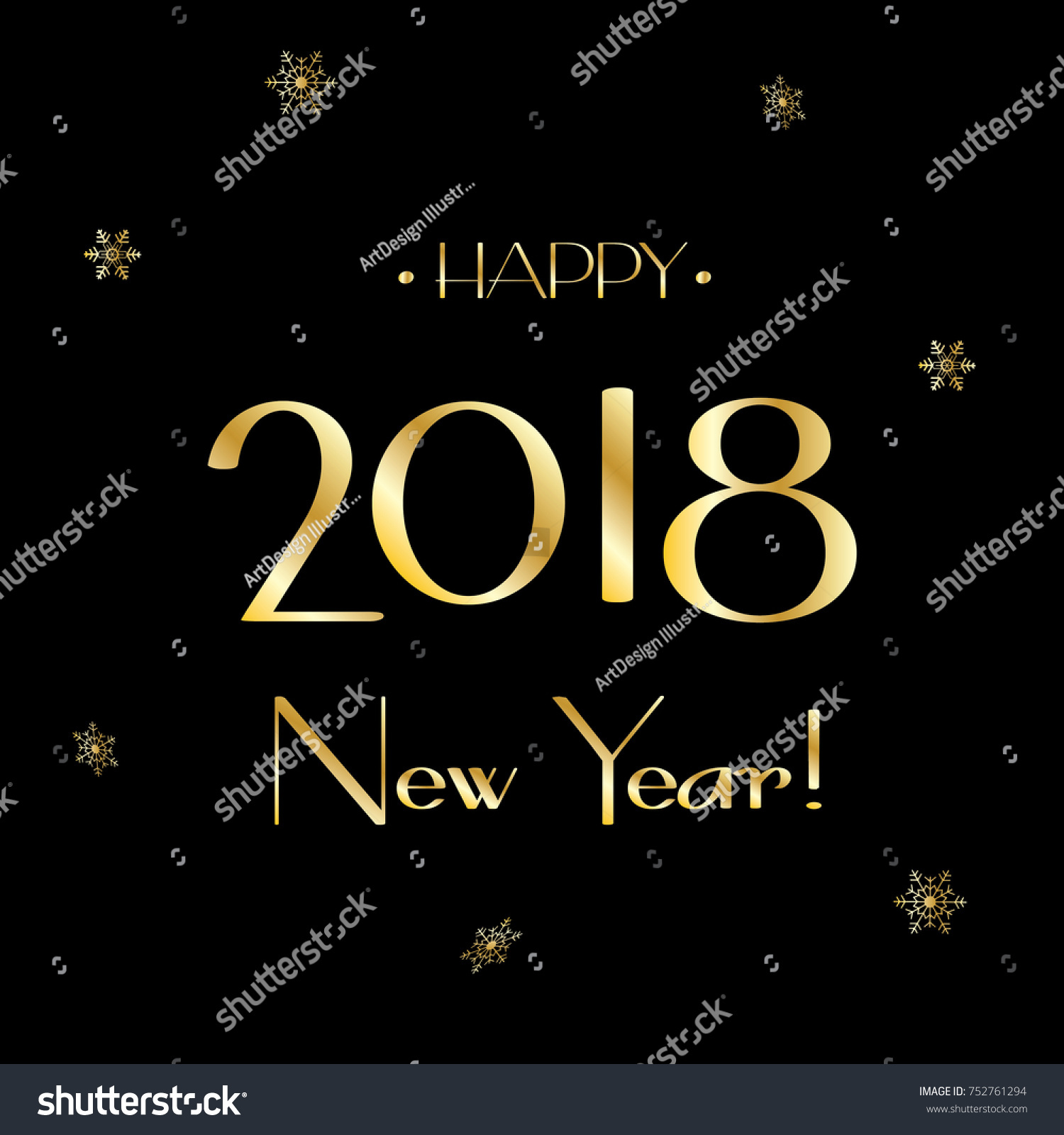 Happy New Year 2018 Luxury Greeting Stock Vector 752761294 ...