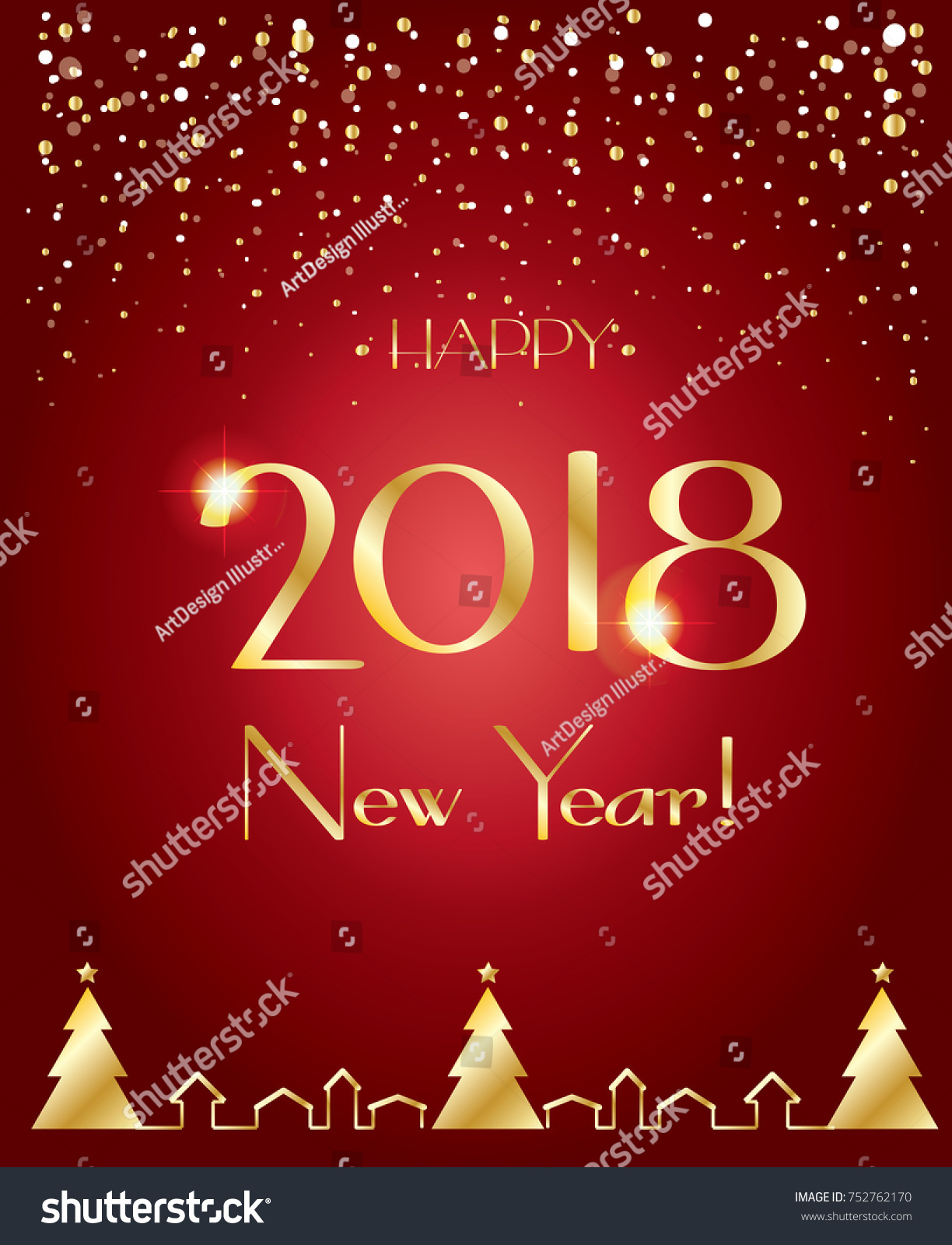 happy new year 2018 luxury greeting card elegant christmas decoration glitter gold snowflakes frame