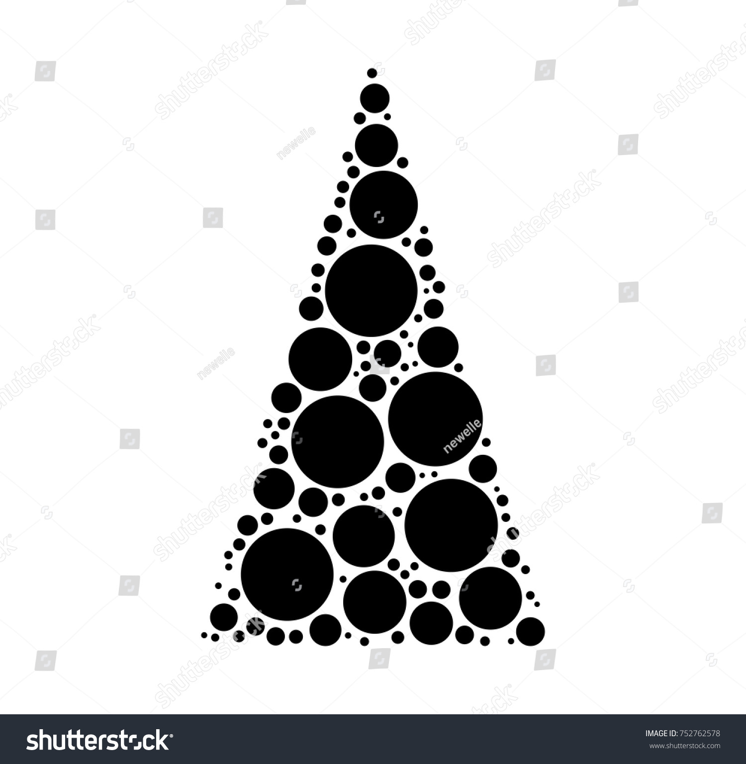Christmas Tree Dotted Vector Isolated On White Background