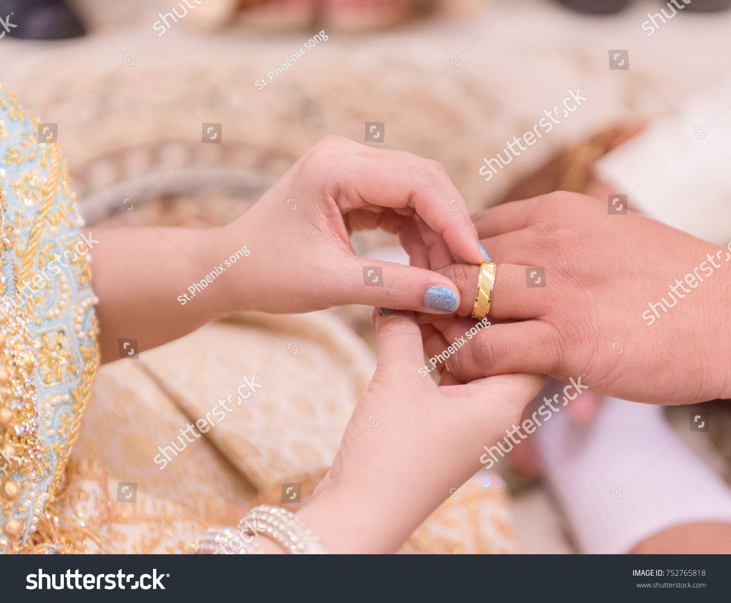Thai Bride Wearing Wedding Ring Her Stock Photo (Royalty Free ...