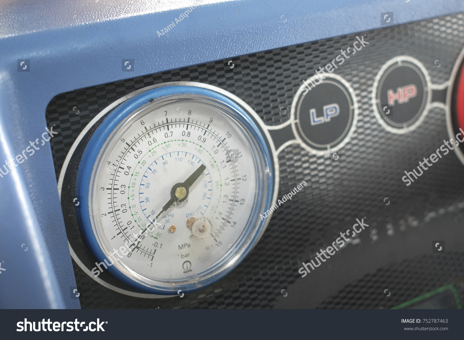 Manometer Gages On Equipment Filling Automotive Stock Photo ...