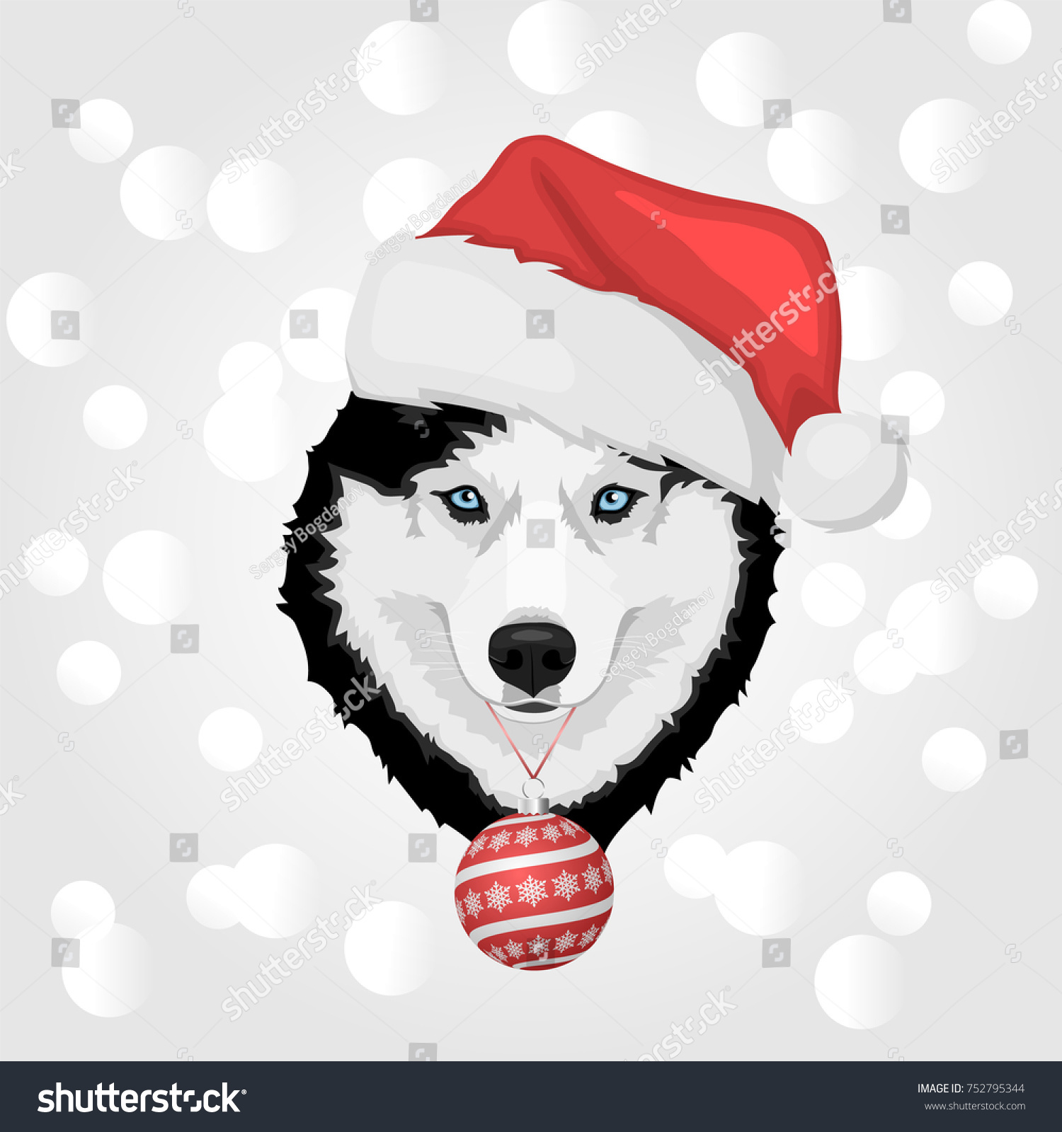 Dog Portrait Red Santas Hat Christmas Stock Vector (Royalty Free ...