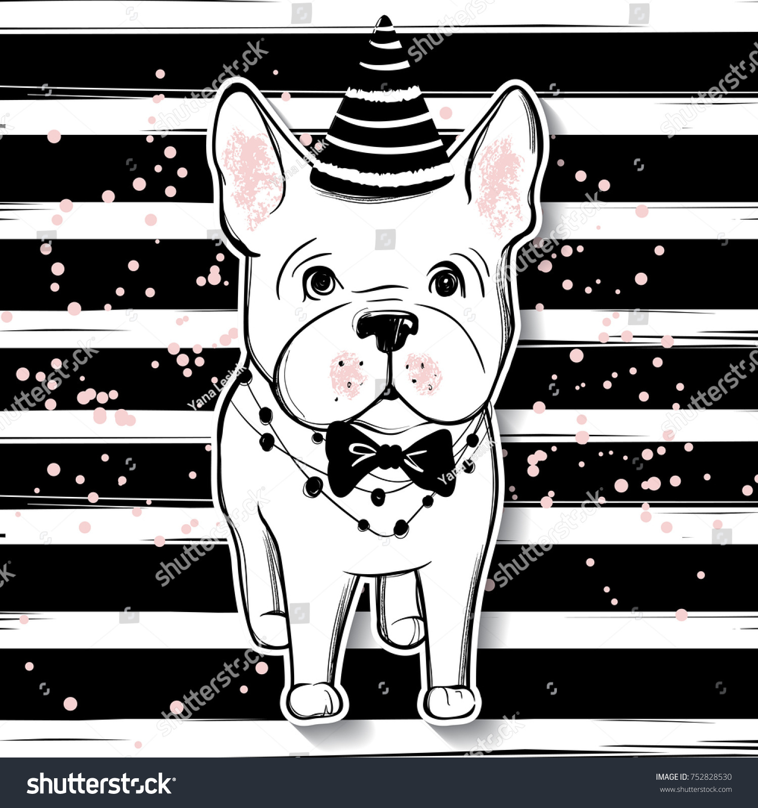Merry Christmas Illustration Funny Dog Hand Stock Vector (Royalty ...
