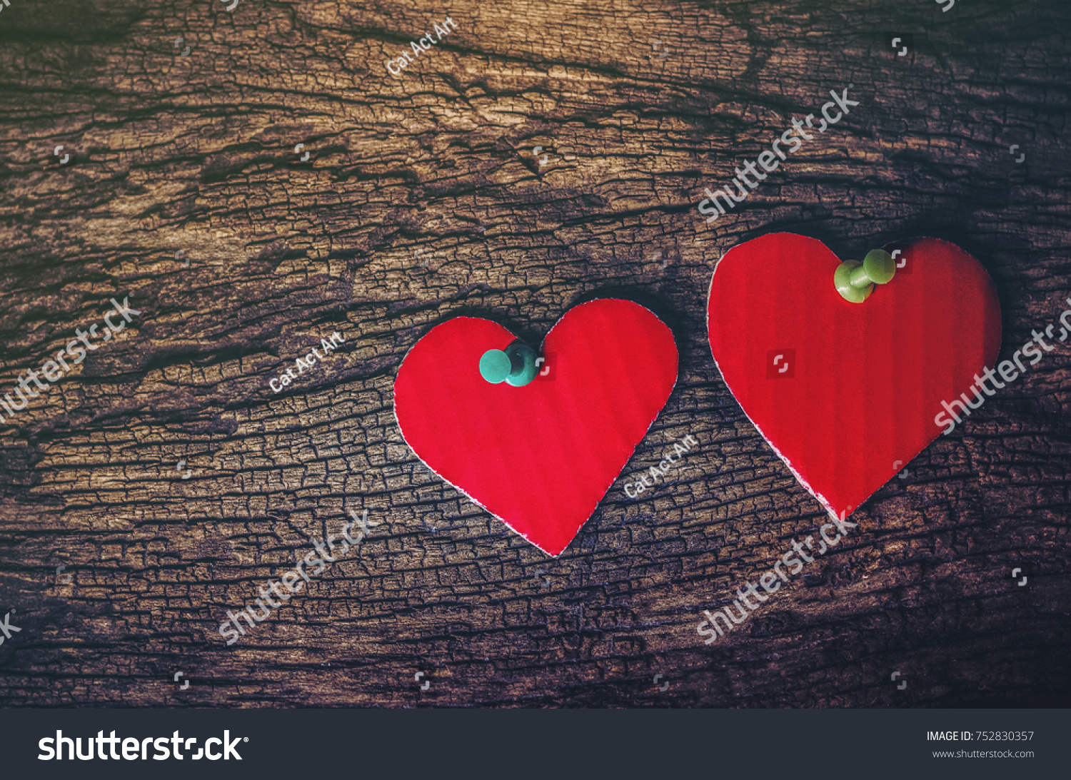 Love Concept Positive Energy Symbols With Two Heart Shaped Paper