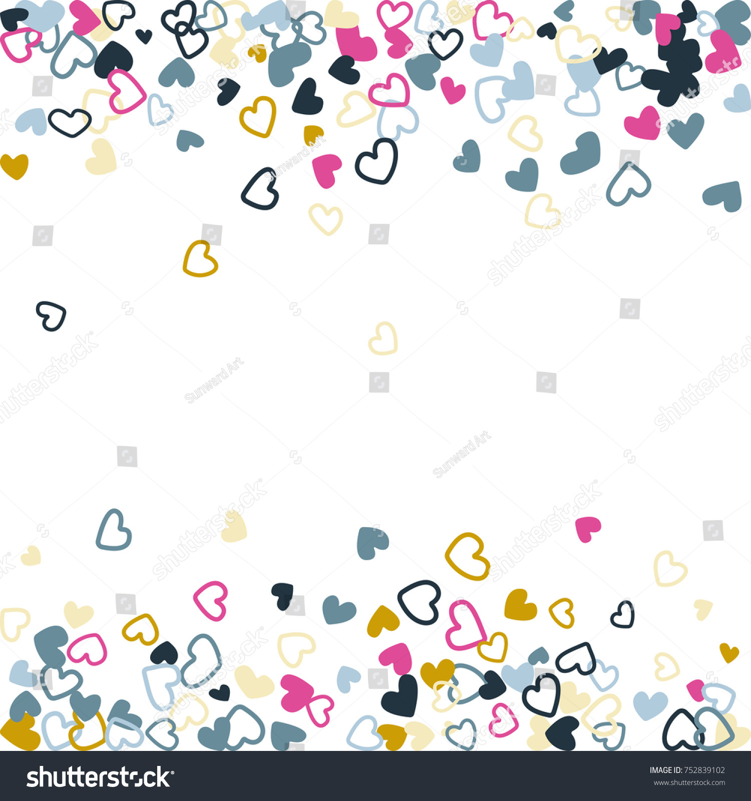 trendy wedding invitation template border vector flying hearts border confetti with place for text