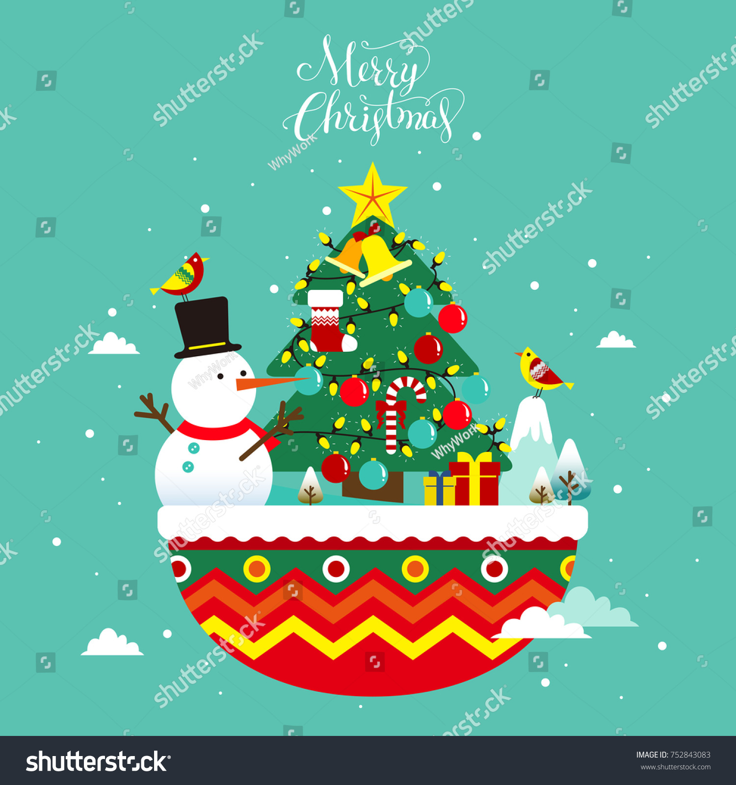 Flat Style Christmas Greeting Card Design Stock Vector Royalty Free