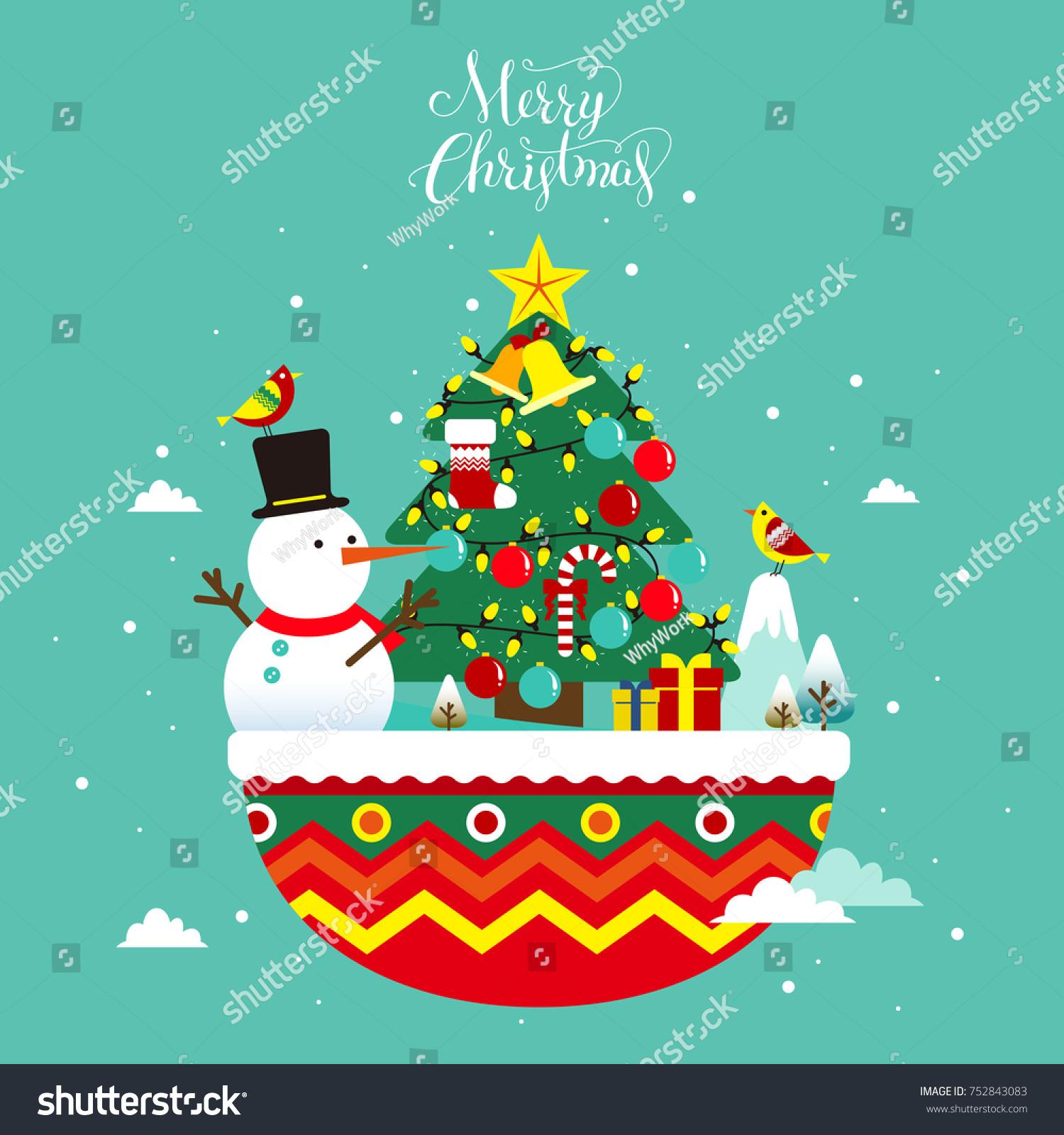 Flat style christmas greeting card design stock vector 752843083 flat style christmas greeting card design with christmas santa claus snowman and christmas tree kristyandbryce Choice Image