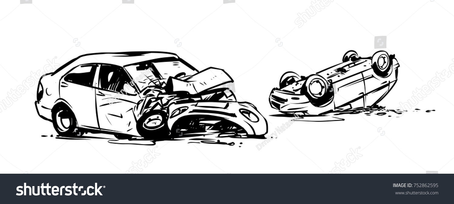 Car Accident Outline Illustration Stock Vector 752862595 ...