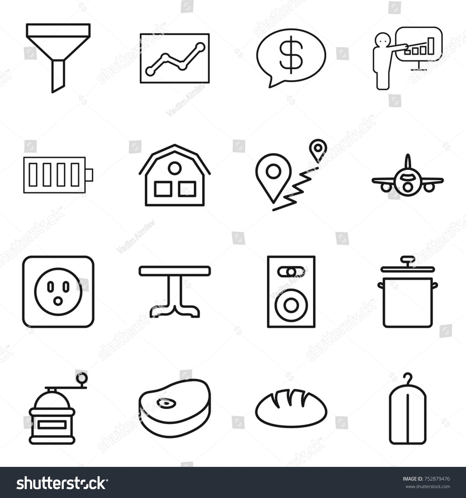 Thin Line Icon Set Funnel Statistics Stock Vector Royalty Free Battery Cell Diagram Editable Powerpoint Template Money Message Presentation